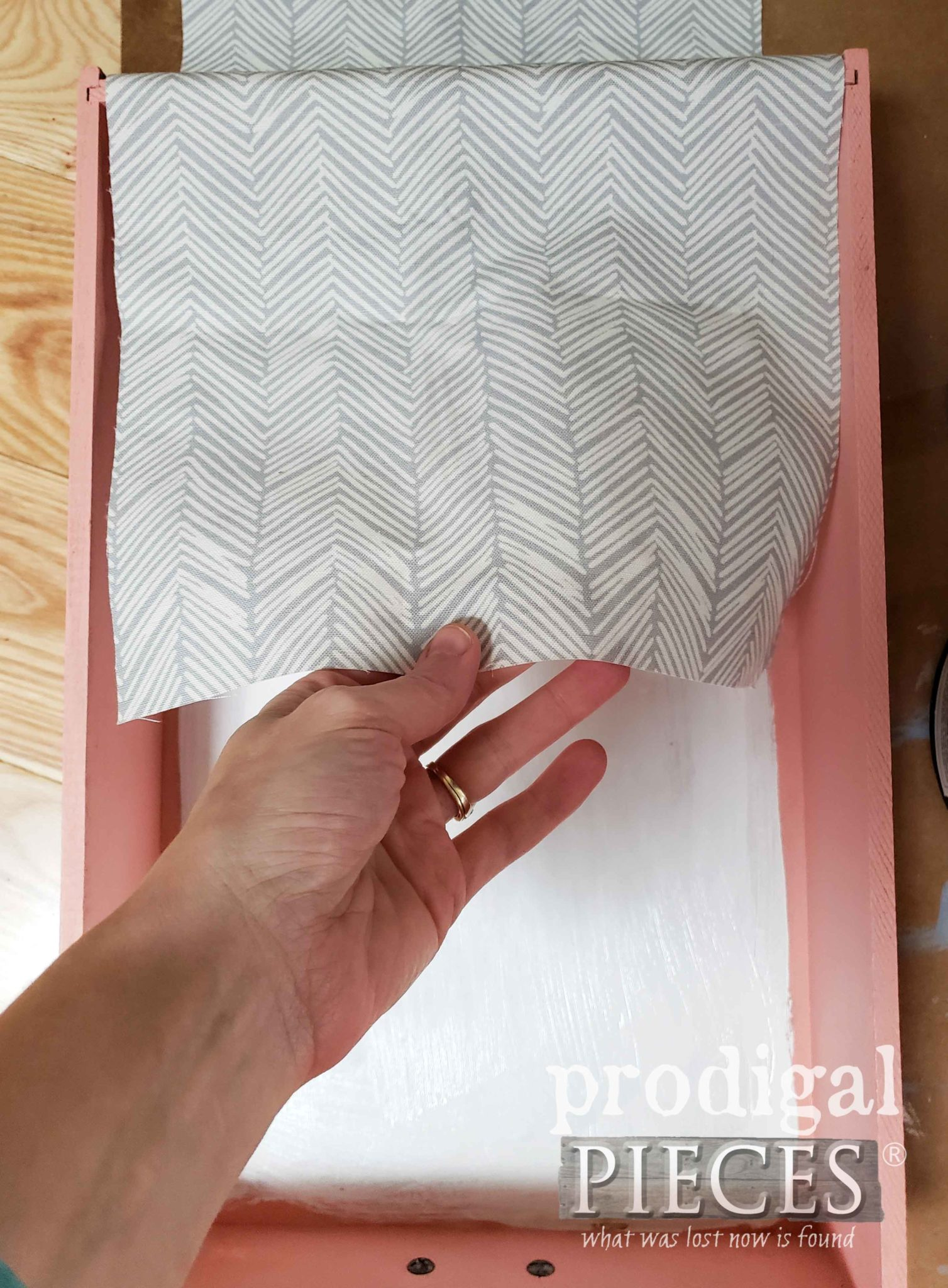 Lining Drawer with Spoonflower Chevron Canvas Fabric by Prodigal Pieces | prodigalpieces.com