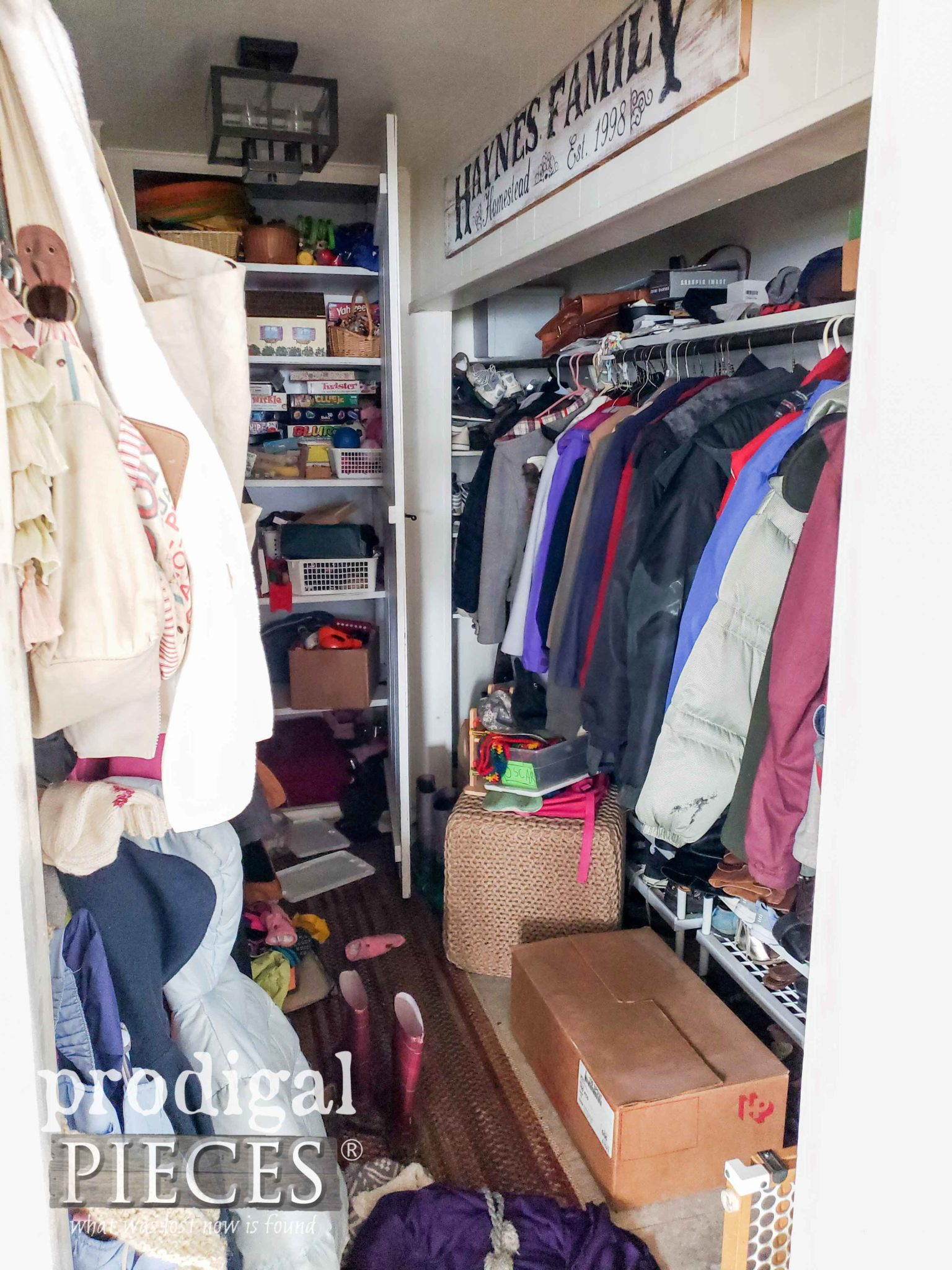 Messy Mudroom Before by Prodigal Pieces | prodigalpieces.com