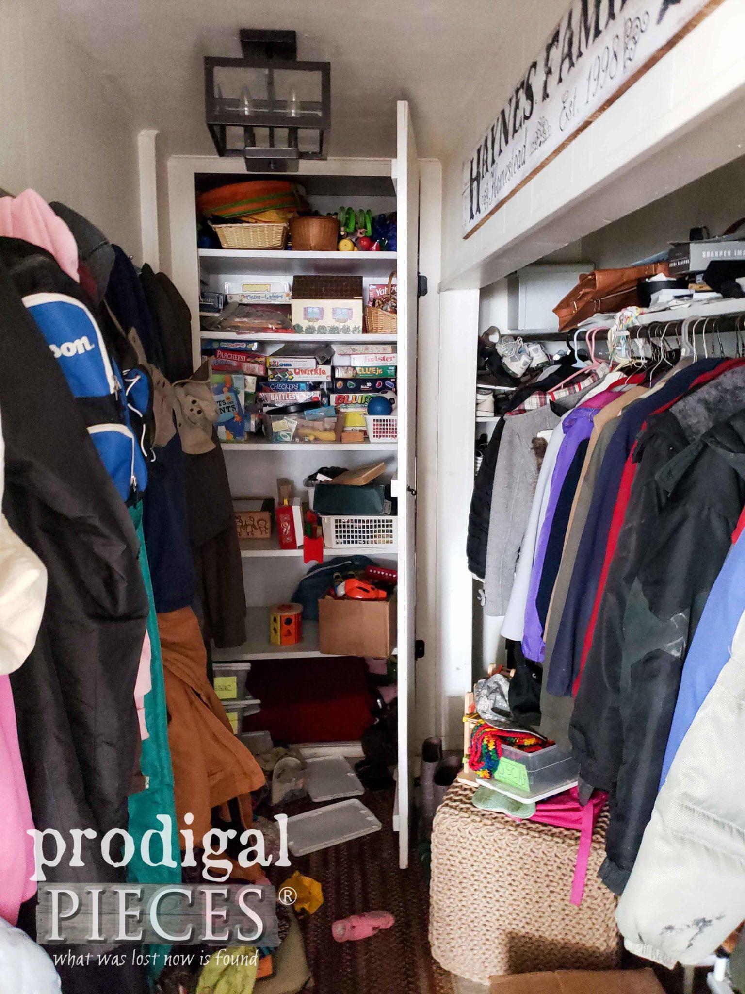 Mudroom Closet Before Makeover by Prodigal Pieces | prodigalpieces.com