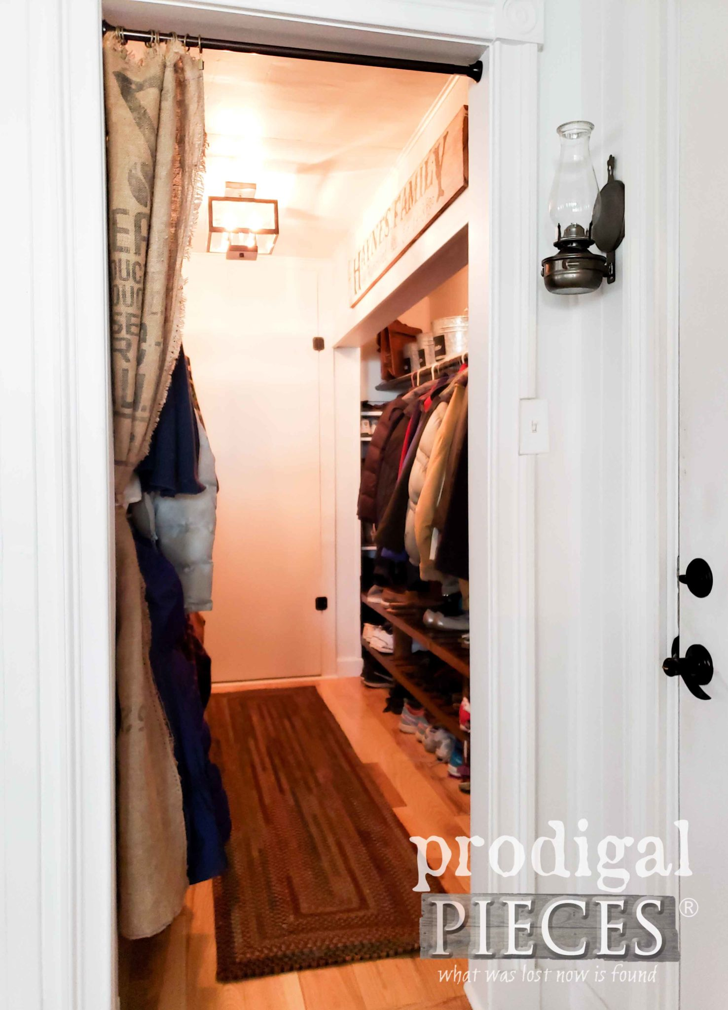 Open Burlap Coffee Sack Mudroom Curtain by Prodigal Pieces | prodigalpieces.com #prodigalpieces #farmhouse #home #homedecor #diy