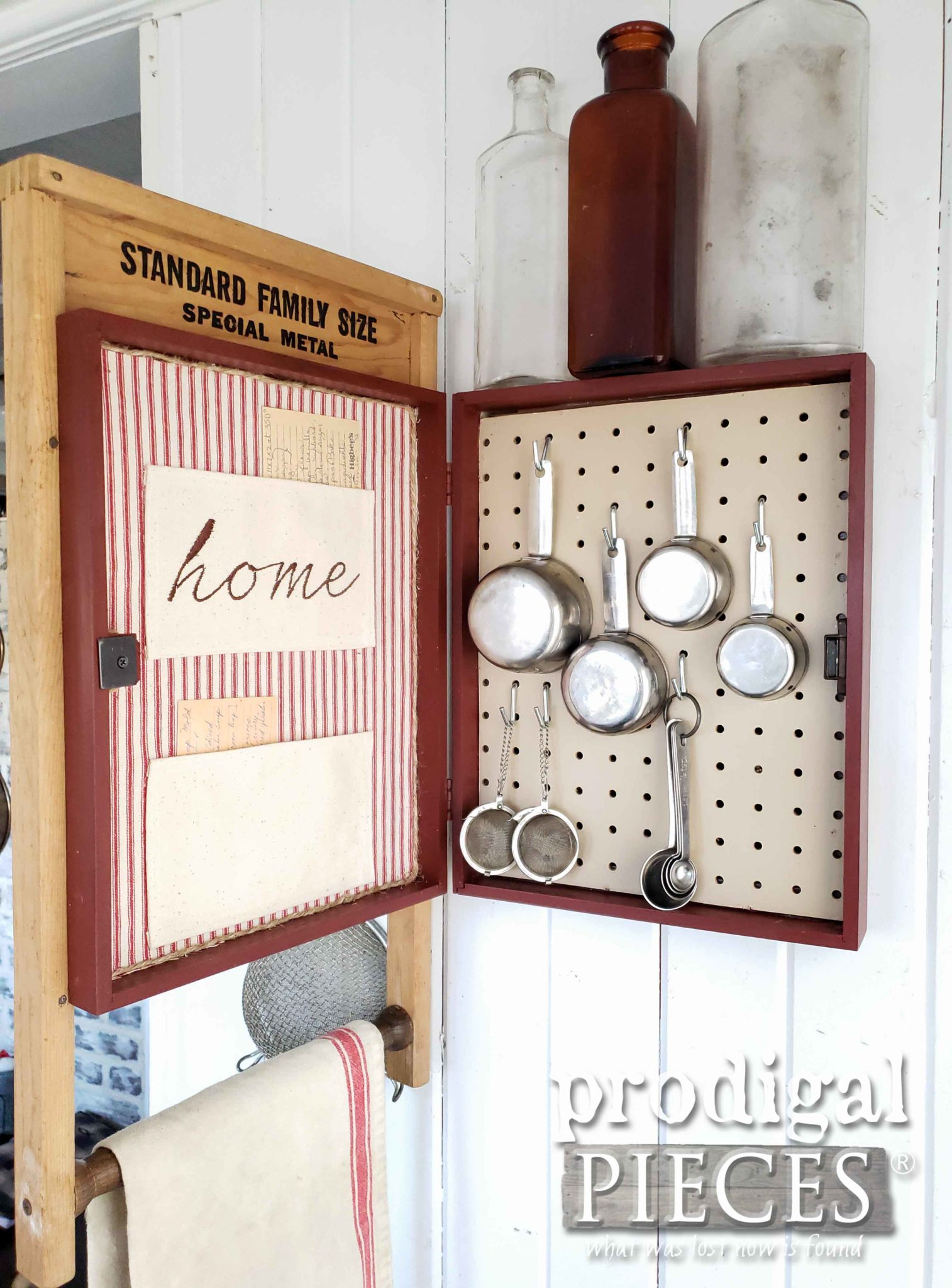 Open Upcycled Washboard Cupboard with Storage by Larissa of Prodigal Pieces | prodigalpieces #prodigalpieces #diy #handmade #farmhouse #home #homedecor #vintage