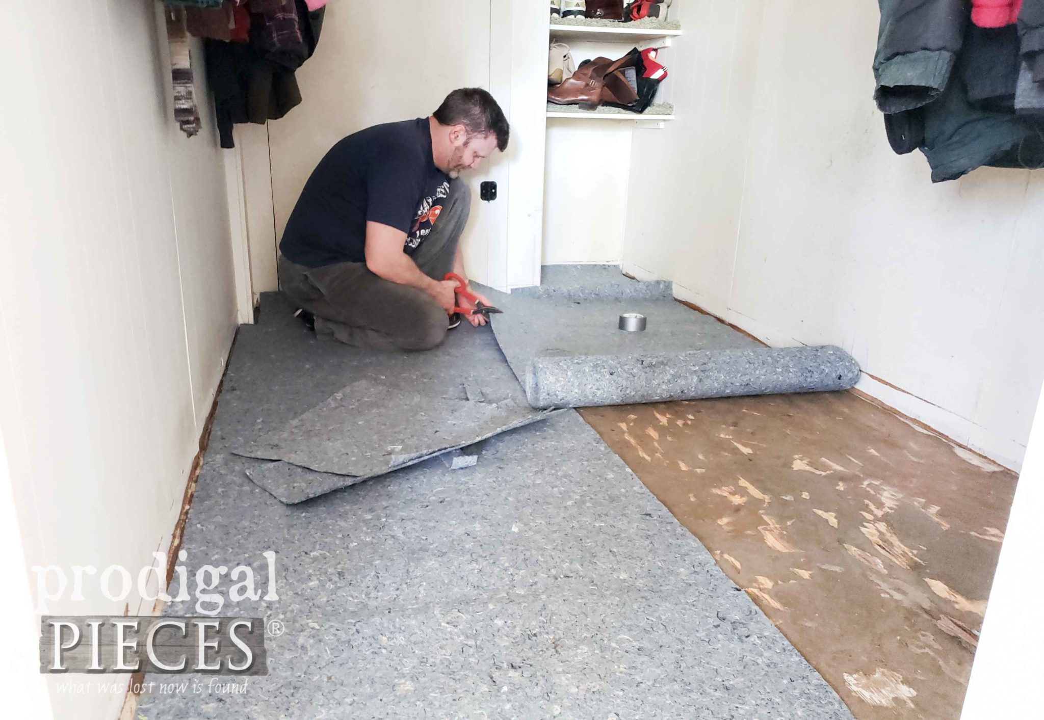 Placing Underlayment on Mudroom Floor | prodigalpieces.com