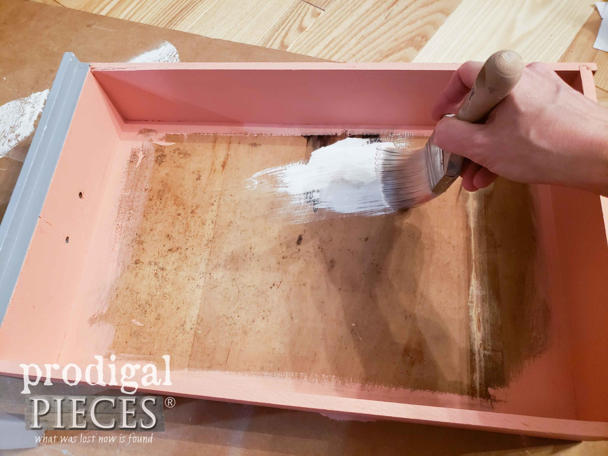 Priming Vintage Nightstand Drawer with Kilz | prodigalpieces.com