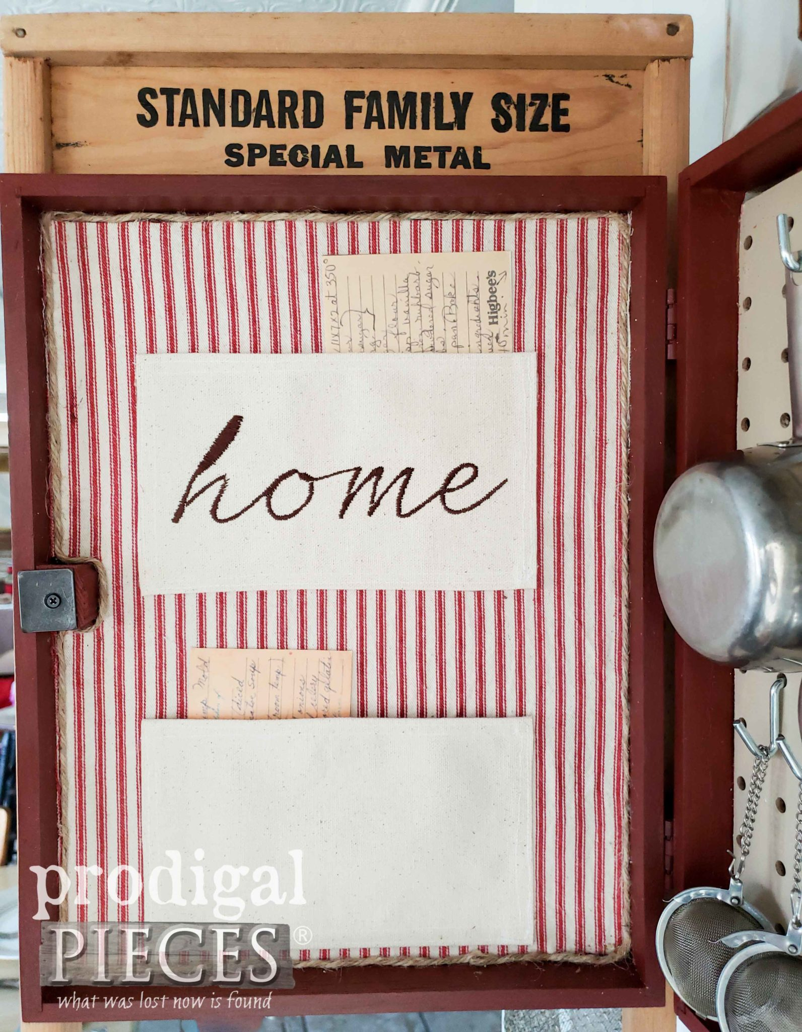 Recipe Pockets in Upcycled Washboard Cupboard for Kitchen by Larissa of Prodigal Pieces | prodigalpieces.com #prodigalpieces #handmade #farmhouse #home #homedecor