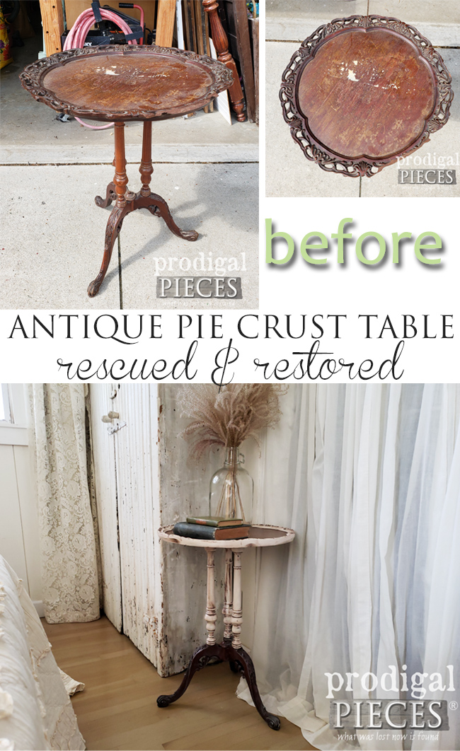 An antique pie crust table is found on the curb and then restored by Larissa of Prodigal Pieces | See the amazing transformation at prodigalpieces.com #prodigalpieces #furniture #diy #home #homedecor #farmhouse