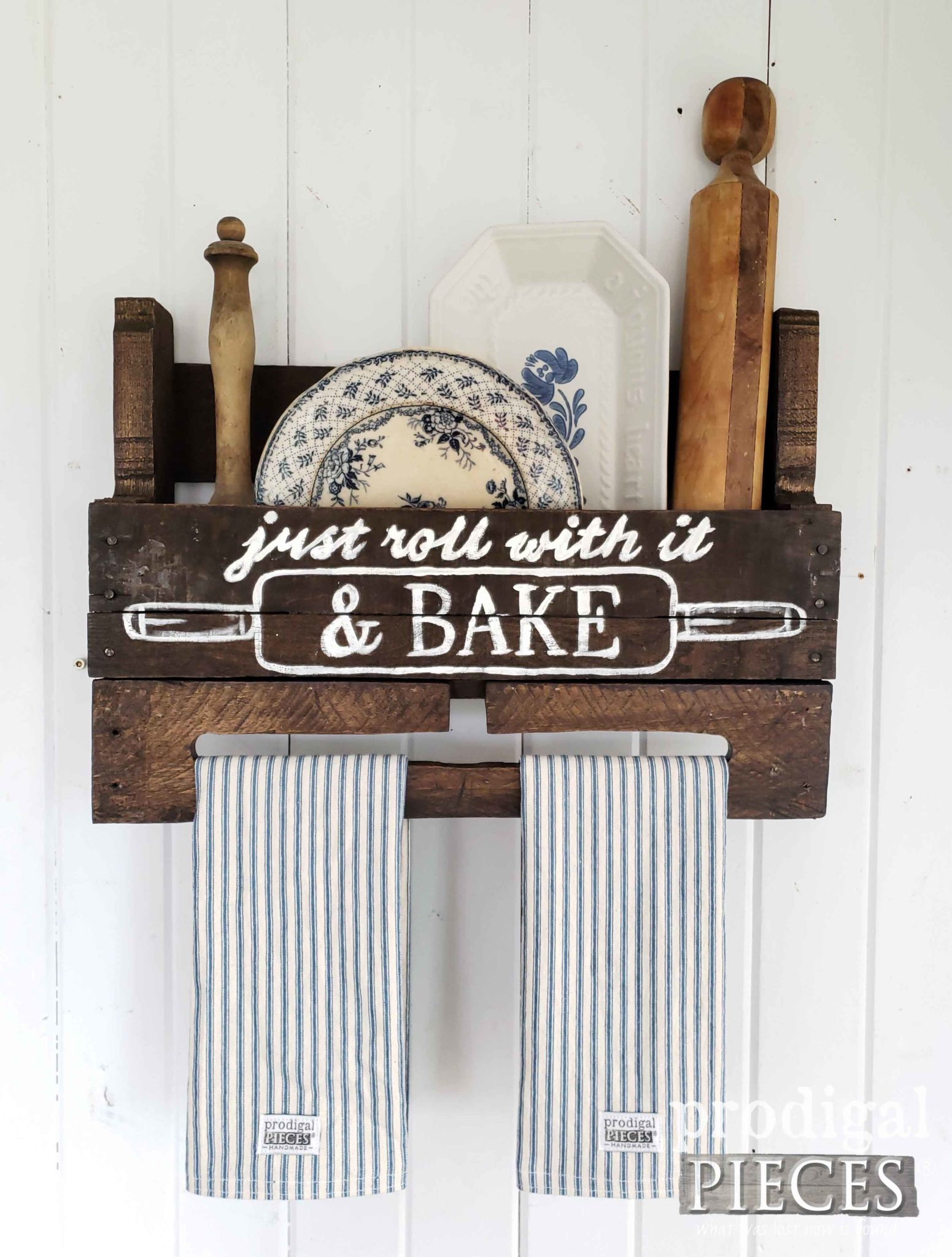 Rustic Farmhouse Towel Holder with Ticking Stripe Towels Created by Larissa of Prodigal Pieces from an Upcycled Pallet | prodigalpieces.com #prodigalpieces #diy #farmhouse #home #homedecor #handmade