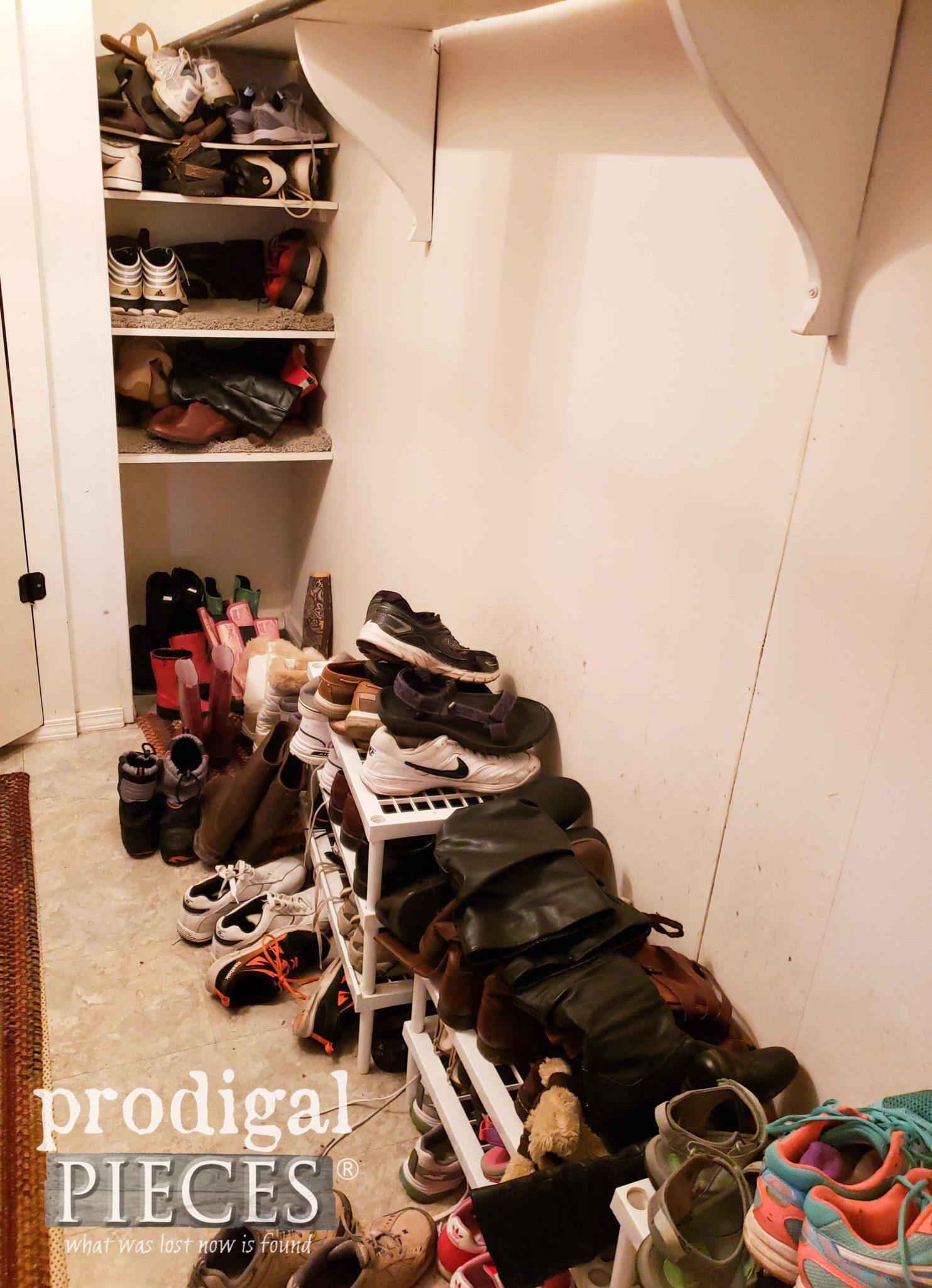 Mudroom Shoe Mess Before DIY Storage | prodigalpieces.com