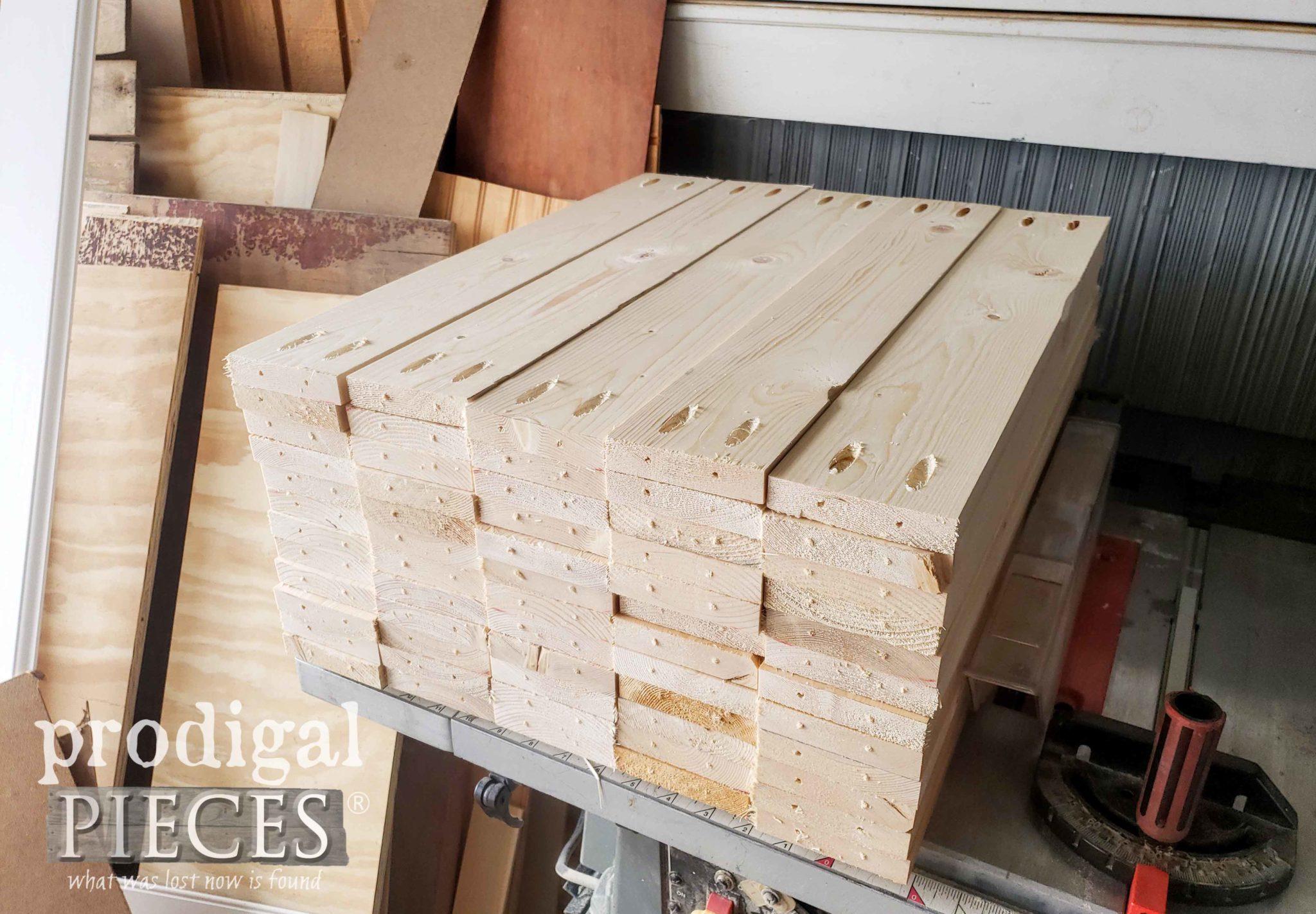 Stack of Wood for DIY Shoe Storage Shelves | prodigalpieces.com