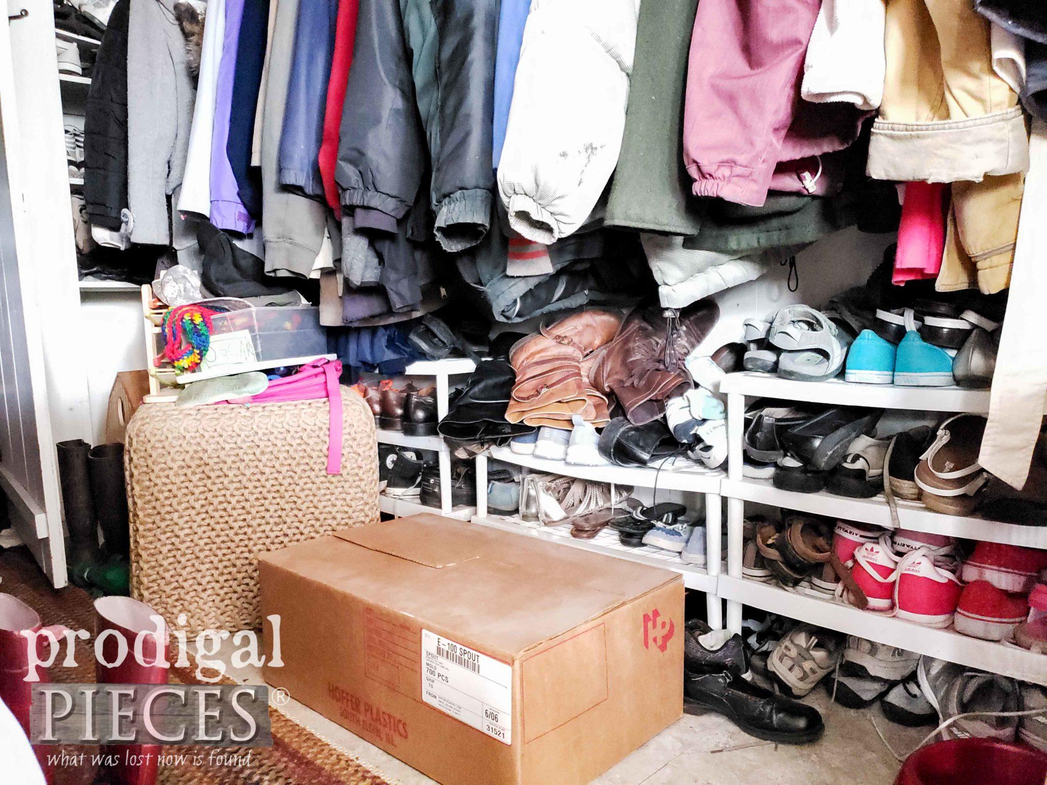 Shoe Storage Shelves Before Mudroom Update by Prodigal Pieces | prodigalpieces.com