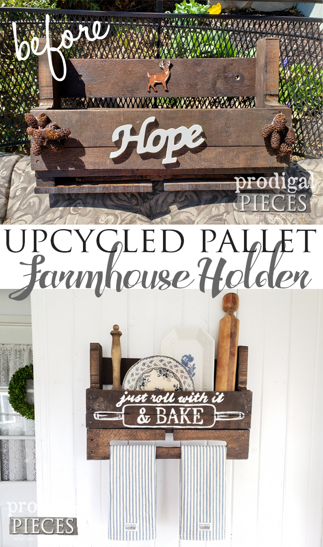 This thrifted upcycled pallet needed a new lease on life. Larissa of Prodigal Pieces gave it a new look with whimsy & new function for farmhouse kitchen decor | See here at prodigalpieces.com #prodigalpieces #diy #handmade #home #homedecor #farmhouse #kitchendesign