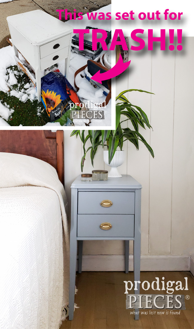 Sweet! This vintage nightstand was set out for trash, but Larissa of Prodigal Pieces found it and gave it new life both inside and out | Come see at prodigalpieces.com #prodigalpieces #diy #home #furniture #midcentury #boho #homedecor #vintage