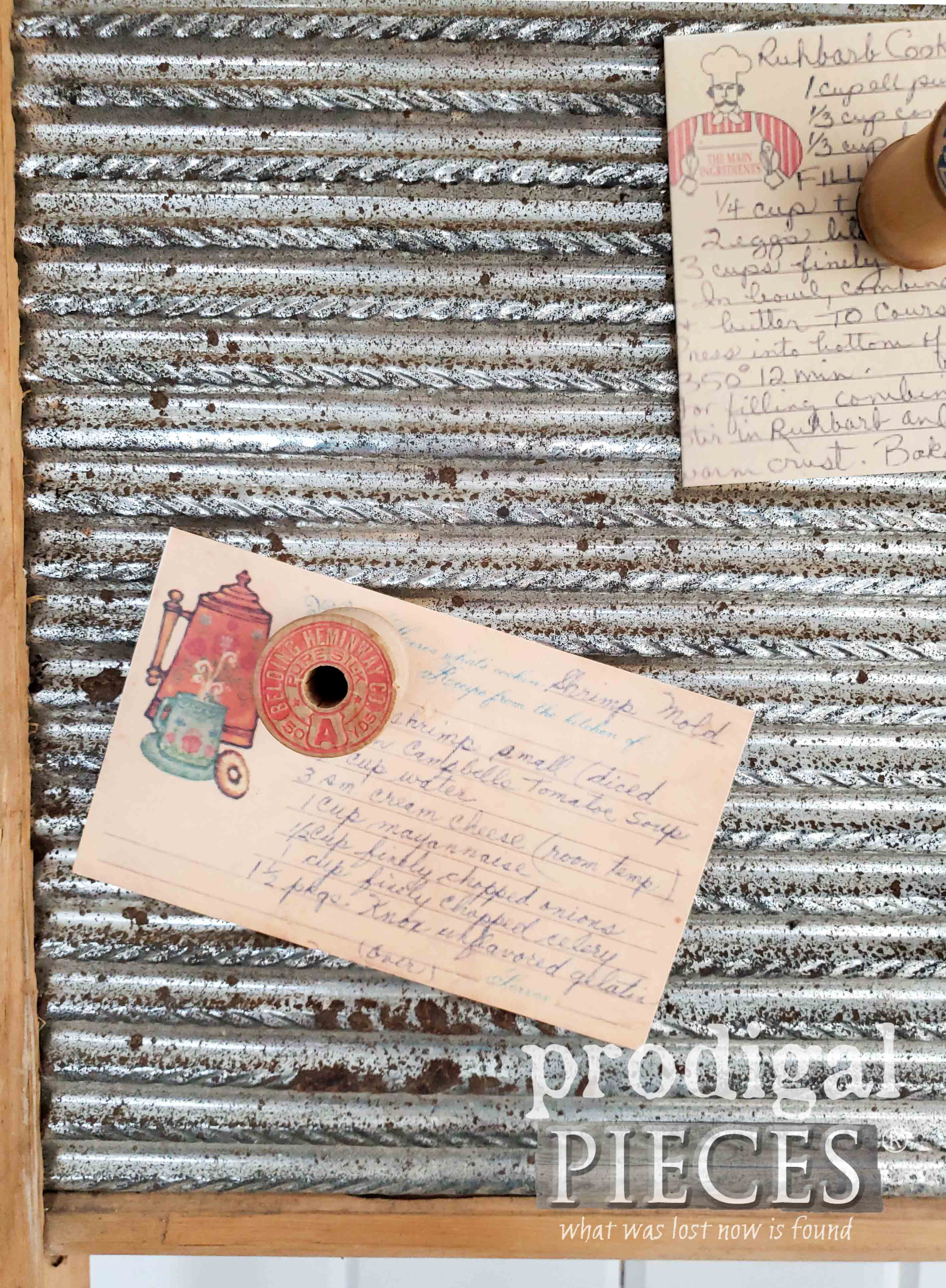 Vintage Recipe Cards and Wooden Spool Magnets   Farmhouse Decor by Larissa of Prodigal Pieces   prodigalpieces.com #prodigalpieces #diy #handmade #farmhouse #vintage #sewing
