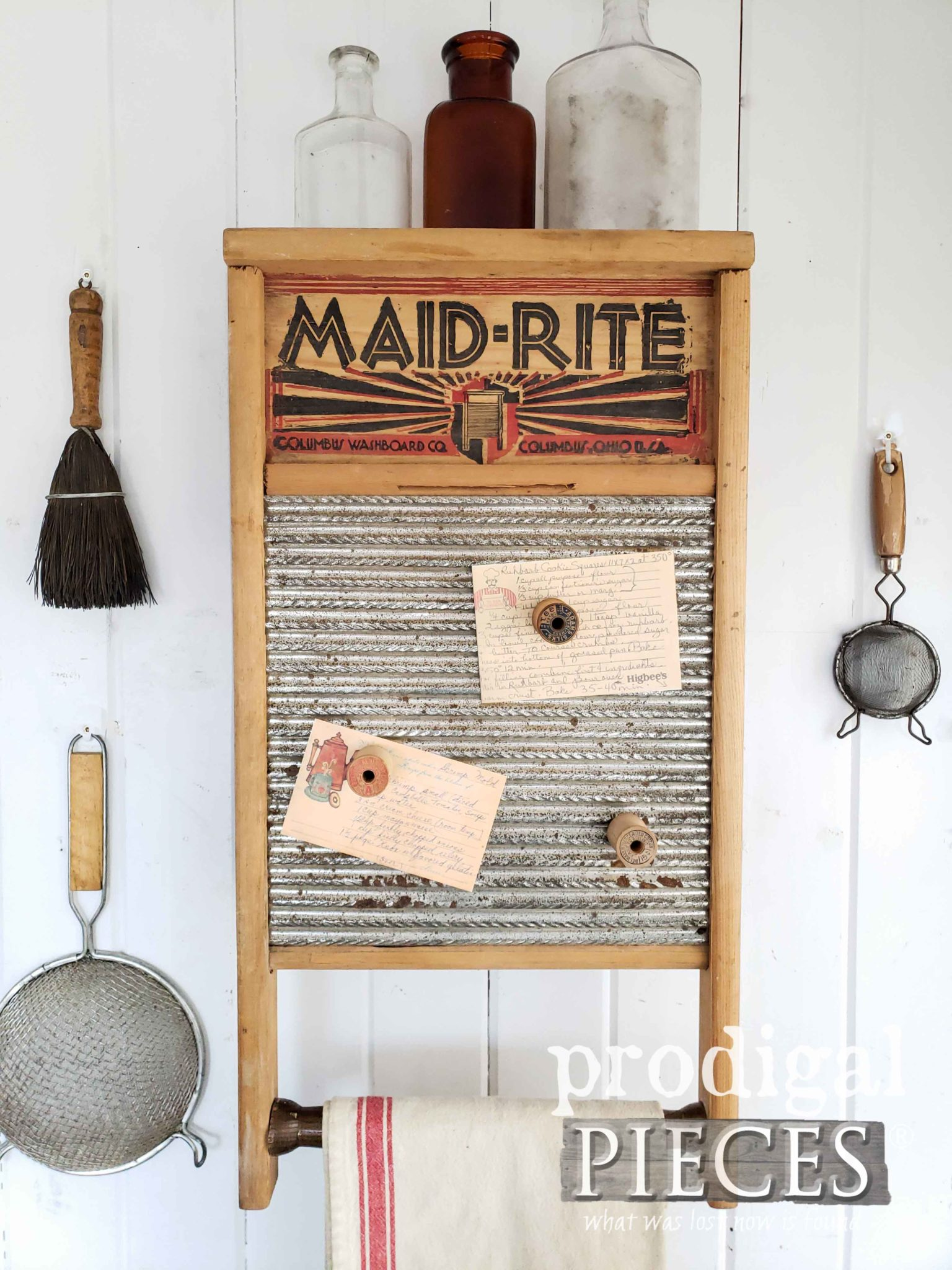 Vintage Farmhouse Style Washboard and Silverware Box Upcycled into Wall Cupboard by Larissa of Prodigal Pieces | prodigalpieces.com #prodigalpieces #farmhouse #diy #handmade #home #homedecor #vintage