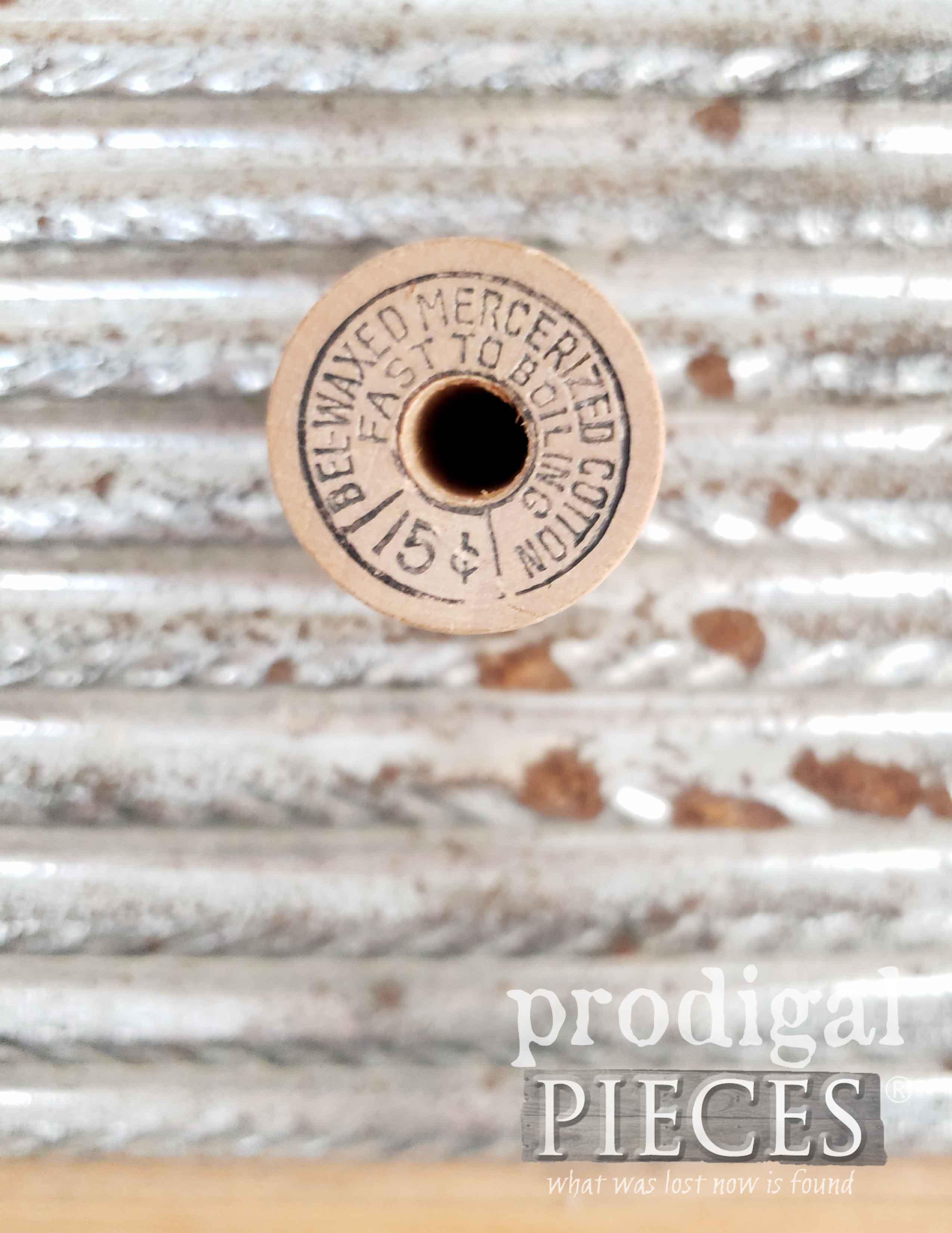 Vintage Wooden Thread Spool with Embossed Design   Prodigal Pieces   prodigalpieces.com #prodigalpieces #vintage #retro #sewing