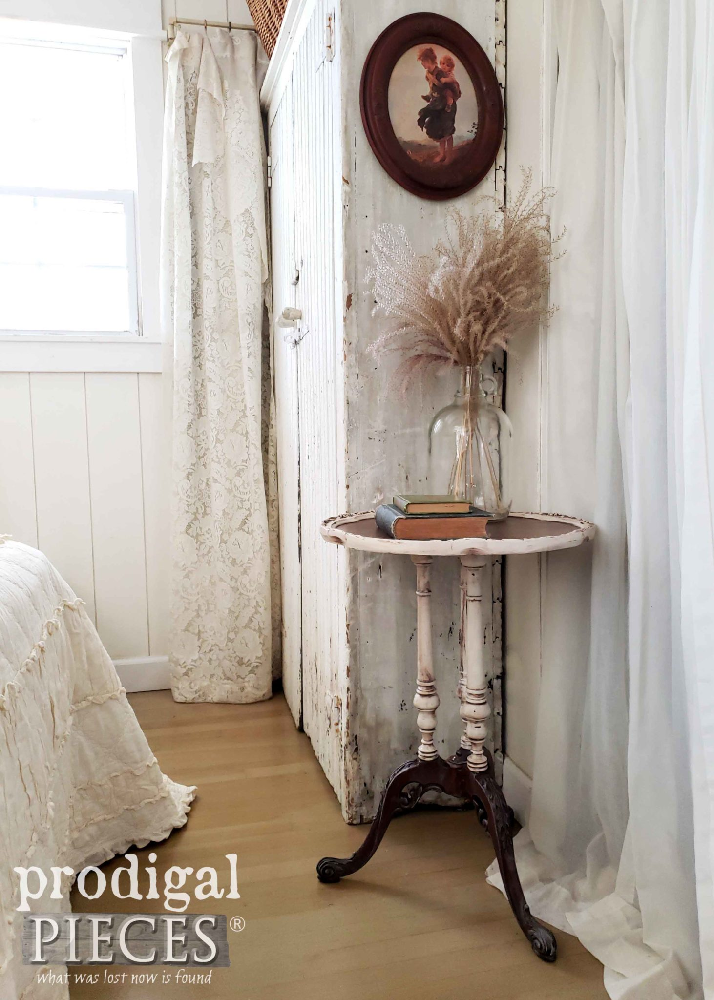 White Farmhouse Style Bedroom with Restored Antique Pie Crust Table by Larissa of Prodigal Pieces | prodigalpieces.com #prodigalpieces #furniture #bedroom #home #homedecor