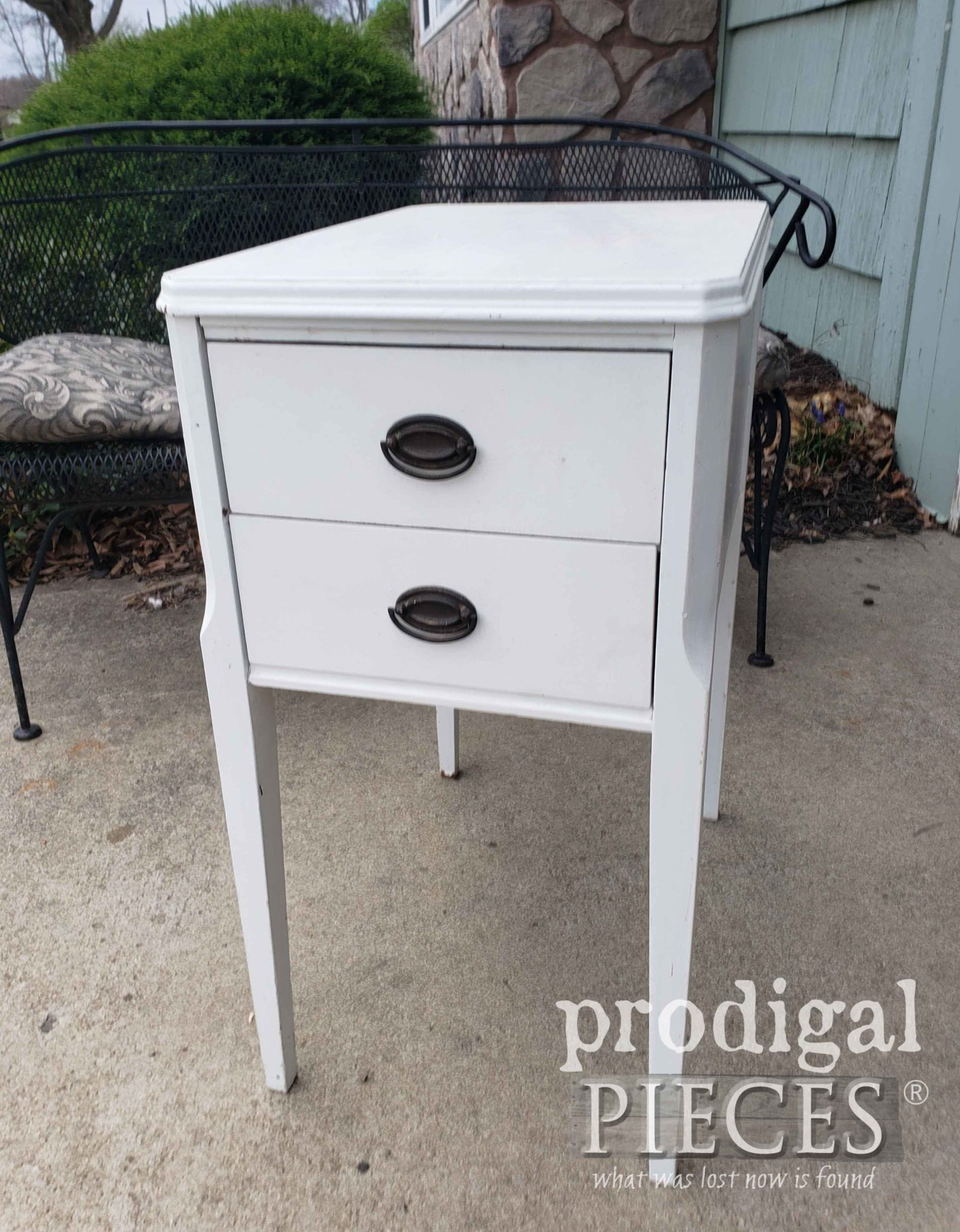 White Vintage Nightstand Before Makeover by Prodigal Pieces | prodigalpieces.com