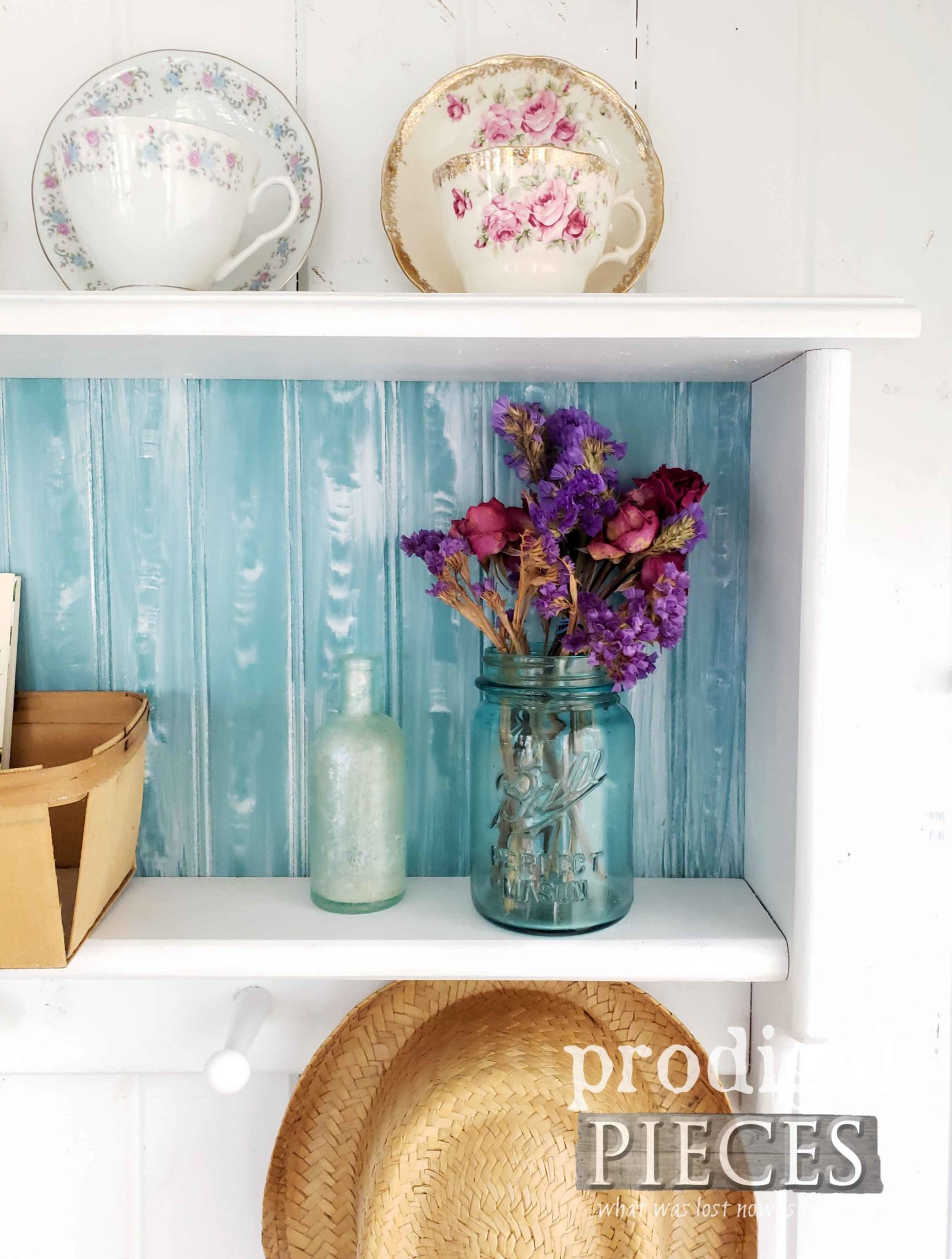Whitewashed Aqua Wood Shelf with Faux Graining Tutorial by Larissa of Prodigal Pieces | prodigalpieces.com #prodigalpieces #diy #home #handmade #cottagestyle #homedecor