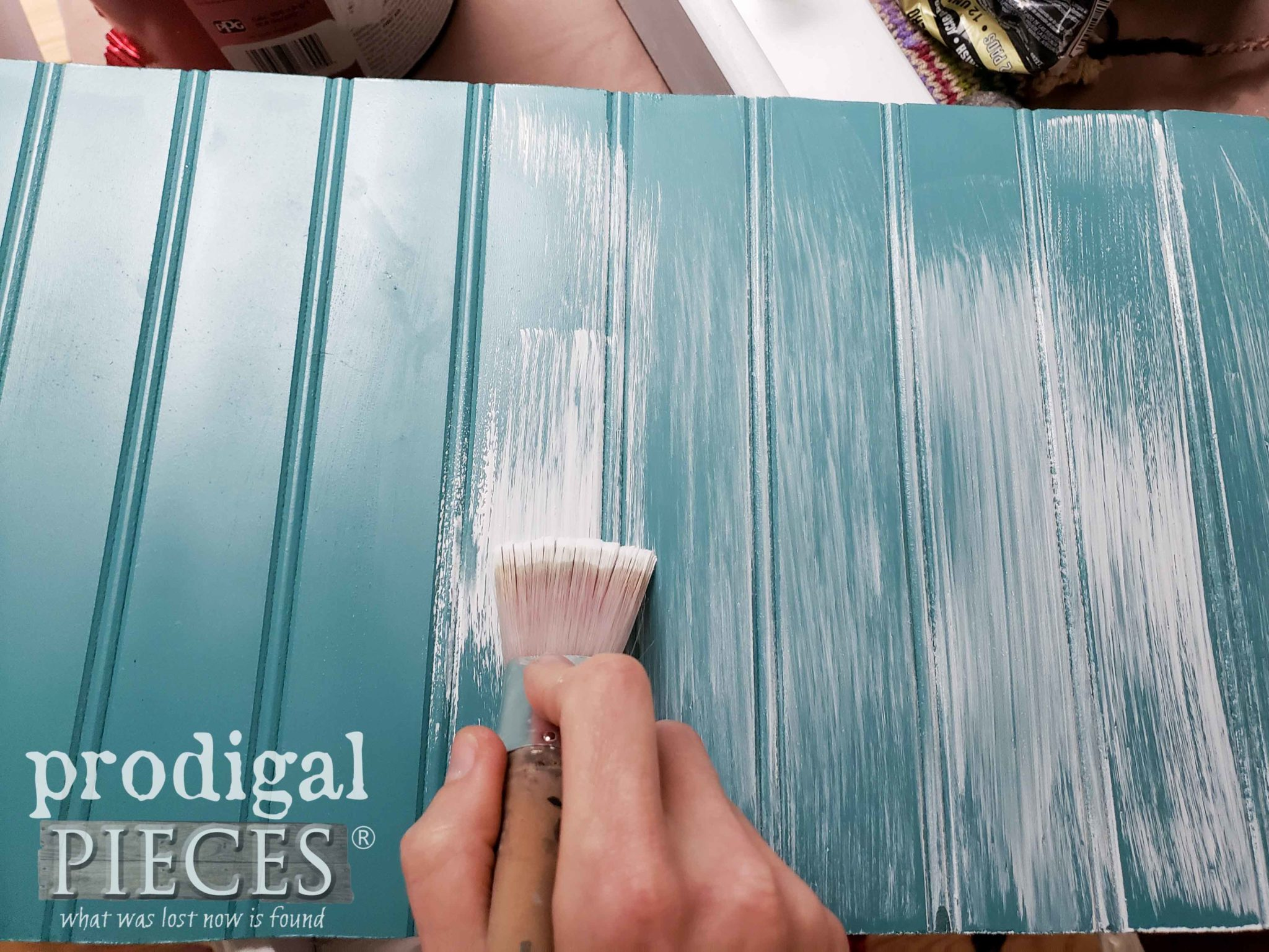Whitewashing Blue Beadboard for Faux Wood Effect by Larissa of Prodigal Pieces | prodigalpieces.com