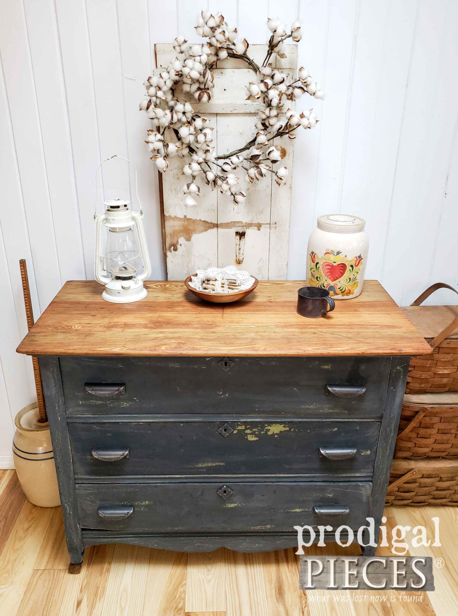Antique Farmhouse Chest of Drawers with Chippy Milk Paint by Larissa of Prodigal Pieces | prodigalpieces.com #prodigalpieces #diy #farmhouse #furniture #handmade #home #homedecor