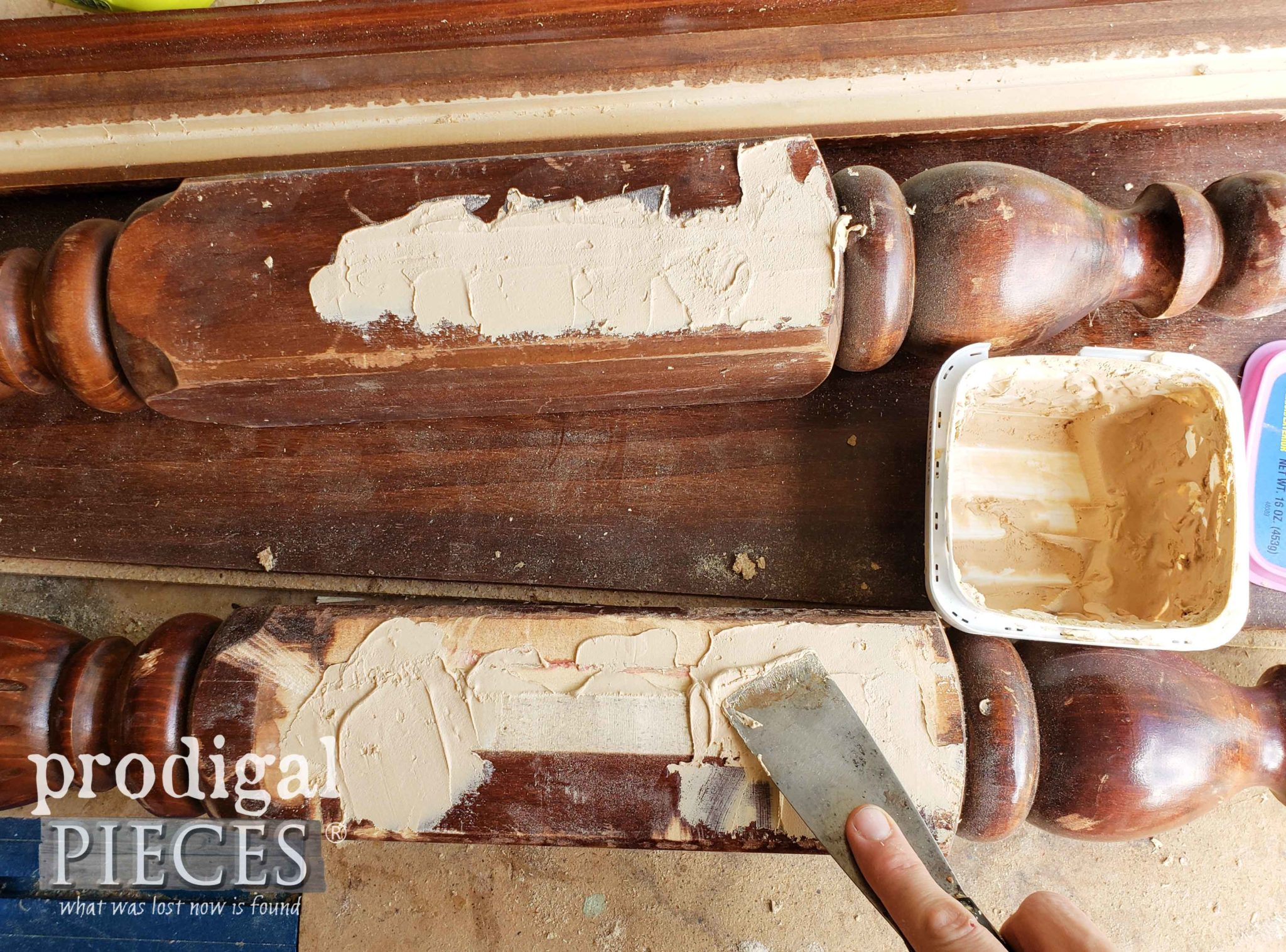 Applying Wood Filler to Bed Posts | prodigalpieces.com