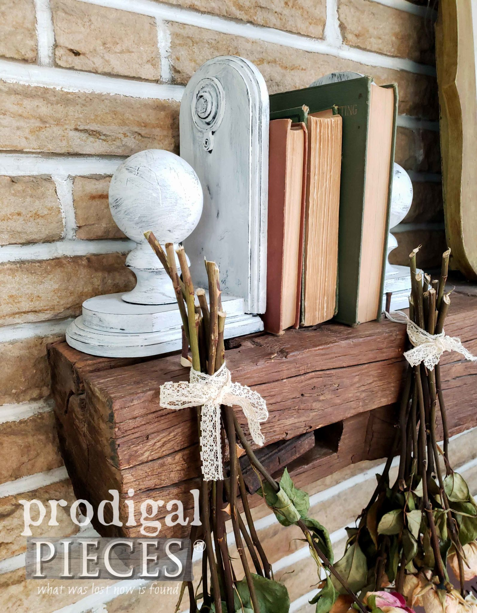 Architectural Salvage Style Bookends for Farmhouse Decor by Larissa of Prodigal Pieces | prodigalpieces.com #prodigalpieces #diy #home #homedecor #farmhouse #handmade