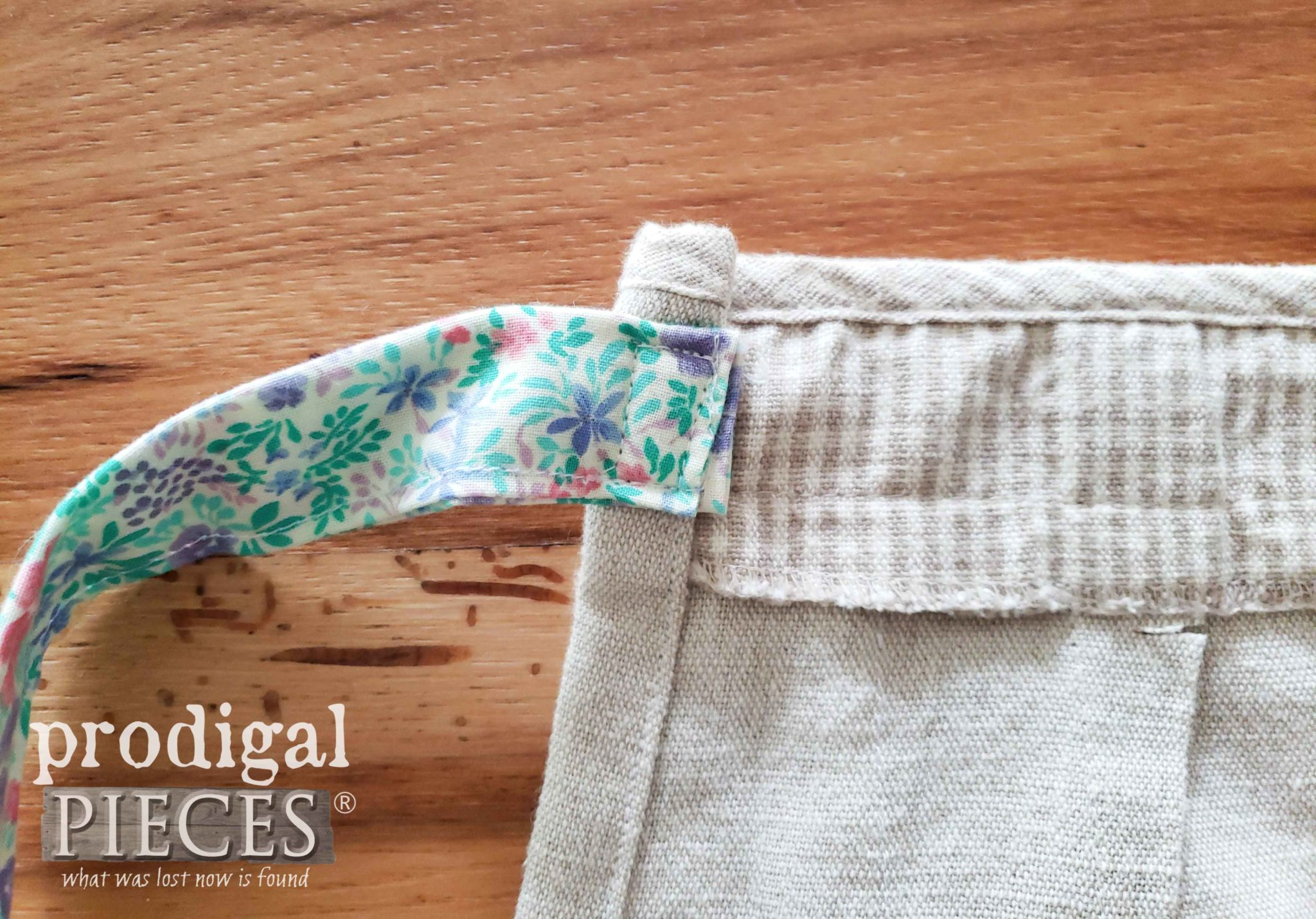 Attaching Apron Strap with a Box Stitch | prodigalpieces.com