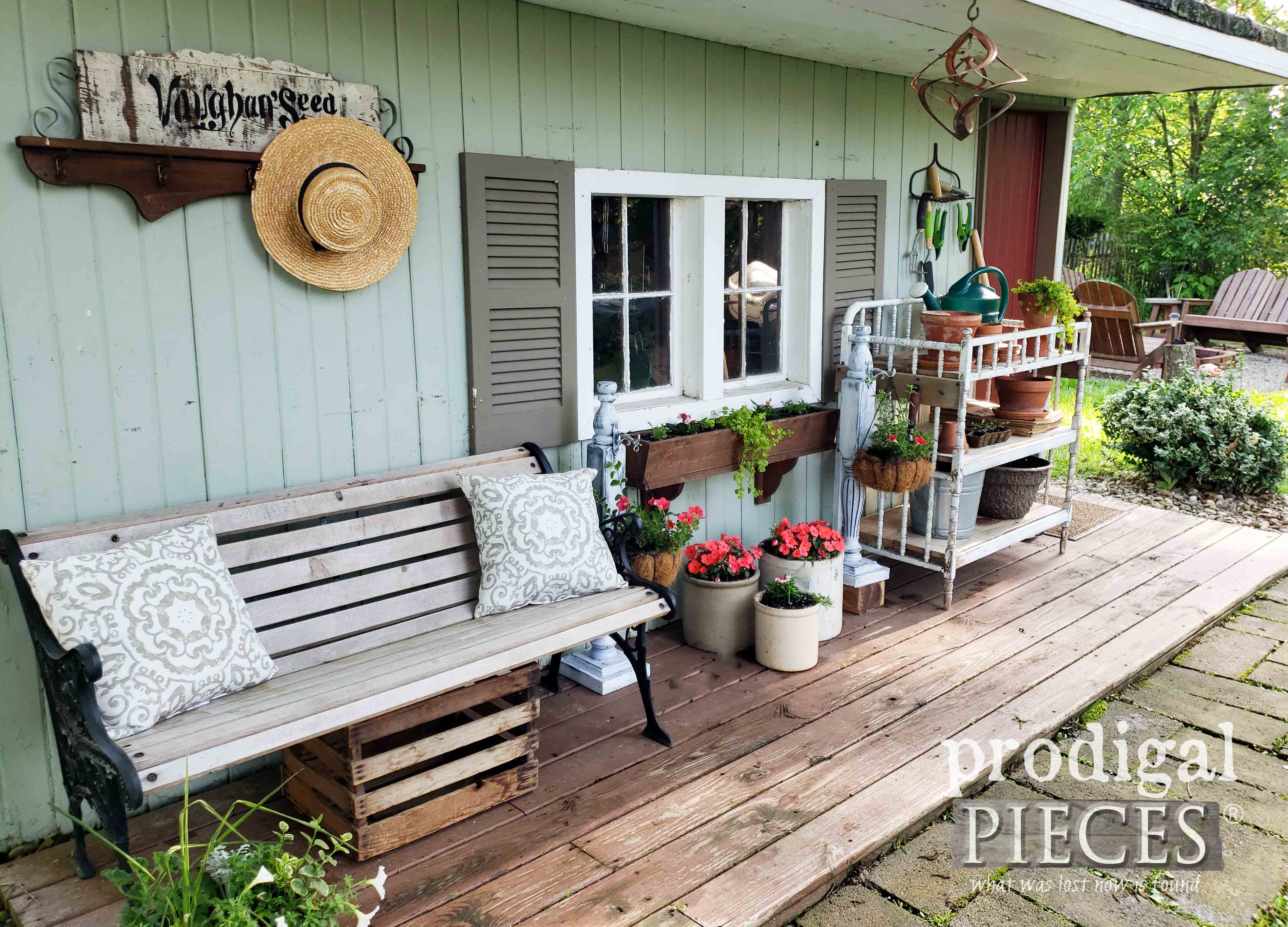 Backyard Garden Shed Decor Made from Upcycled Finds by Larissa of Prodigal Pieces | prodigalpieces.com #prodigalpieces #diy #home #homedecor #garden #summer