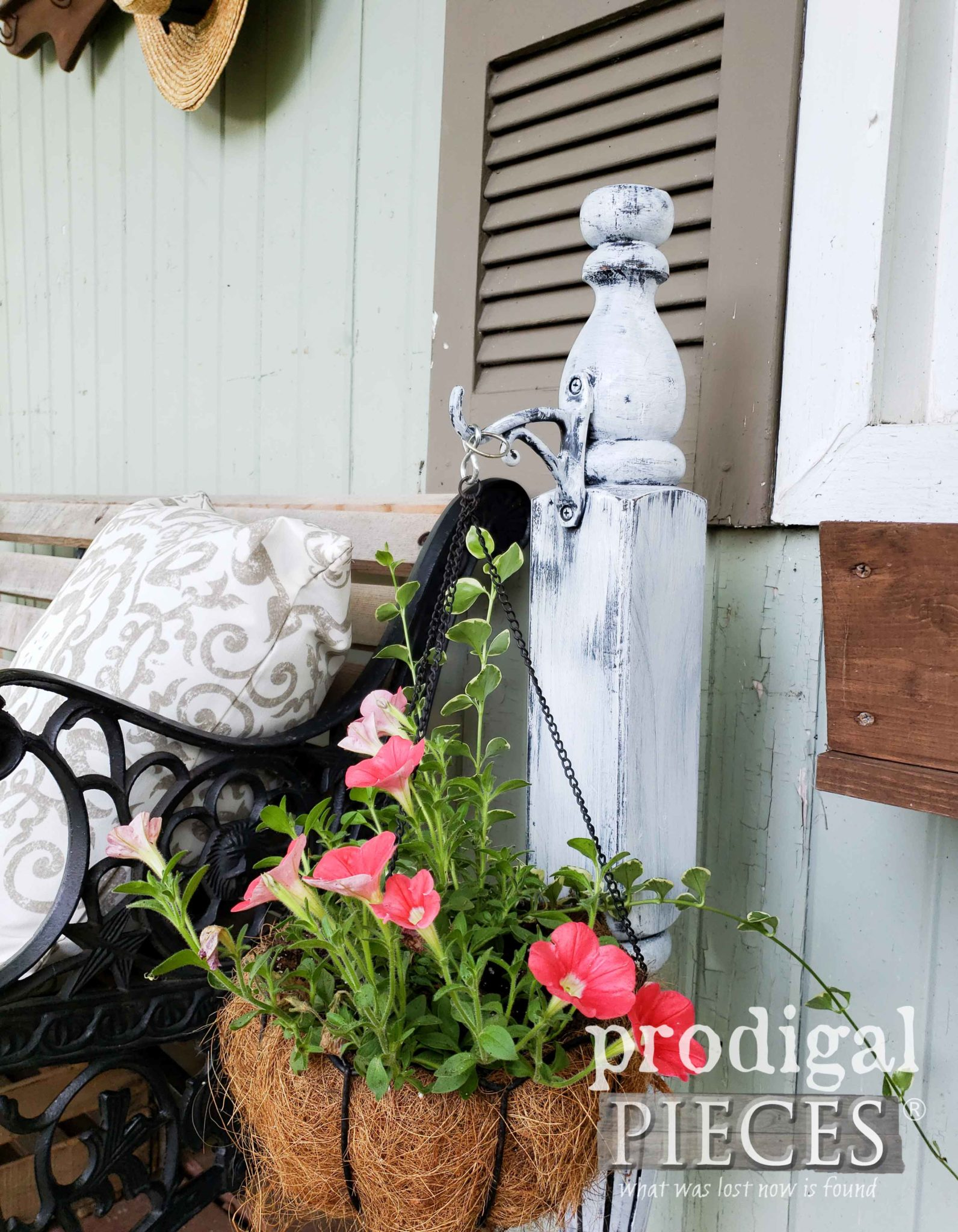 Upcycled Bed Post Plant Hanger DIY Tutorial by Larissa of Prodigal Pieces | prodigalpieces.com #prodigalpieces #diy #home #handmade #garden #homedecor