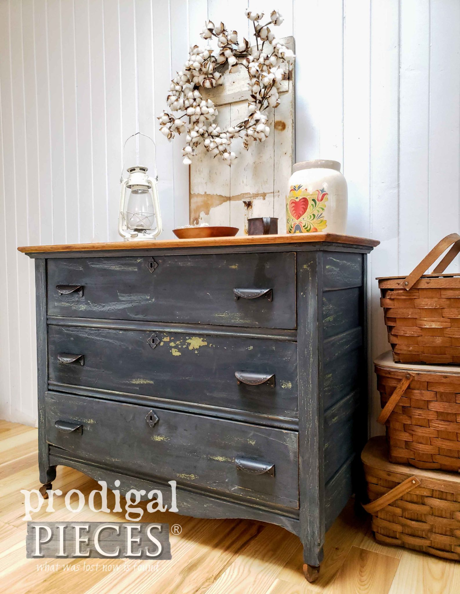 Chippy Blue Farmhouse Chest of Drawers Refinished by Larissa of Prodigal Pieces | prodigalpieces.com #prodigalpieces #furniture #diy #milkpaint #farmhouse #home #homedecor