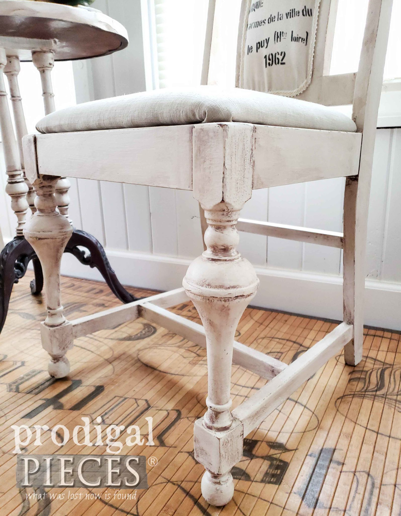 Chippy White Antique Dining Chair by Prodigal Pieces | prodigalpieces.com #prodigalpieces #diy #furniture