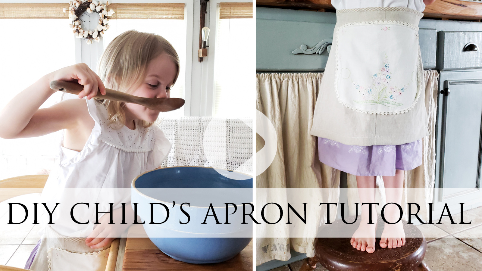 Video Tutorial for DIY Child's Apron from a Refashioned Skirt by Larissa of Prodigal Pieces | prodigalpieces.com #prodigalpieces
