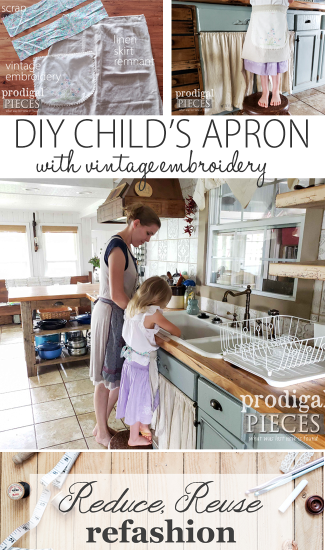 You can sew this adorable DIY Child's Apron too! Full video tutorial presented by Larissa of Prodigal Pieces for Reduce, Reuse, REFASHION | prodigalpieces.com #prodigalpieces #sewing #handmade #fashion #home #kids #diy #tutorial