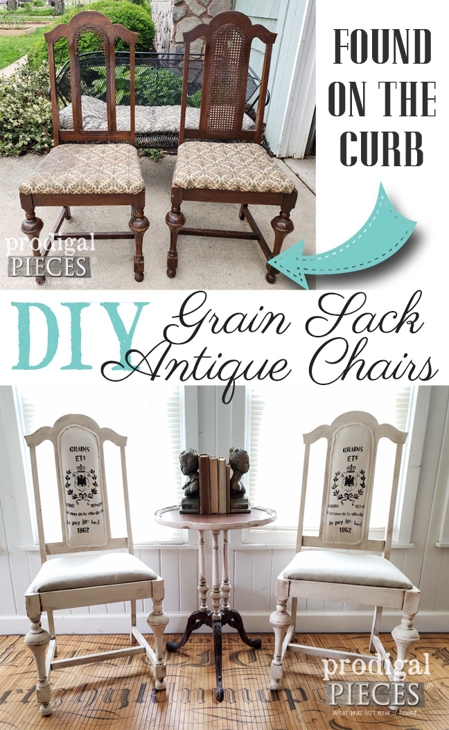 Broken Cane Chairs Found Curbside Get a New Lease on Life by Larissa of Prodigal Pieces | Check out this DIY Grain Sack Chair Tutorial by Larissa of Prodigal Pieces | prodigalpieces.com #prodigalpieces #diy #home #furniture #homedecor