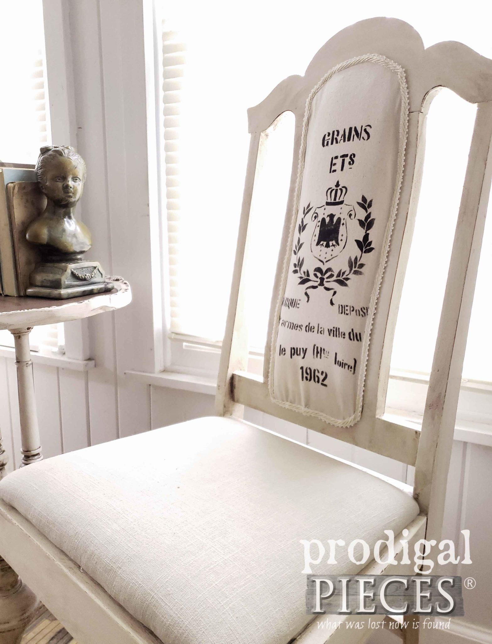 DIY Linen Upholstery with Grain Sack Antique Chairs by Larissa of Prodigal Pieces | prodigalpieces.com #prodigalpieces #furniture #home #homedecor #diy