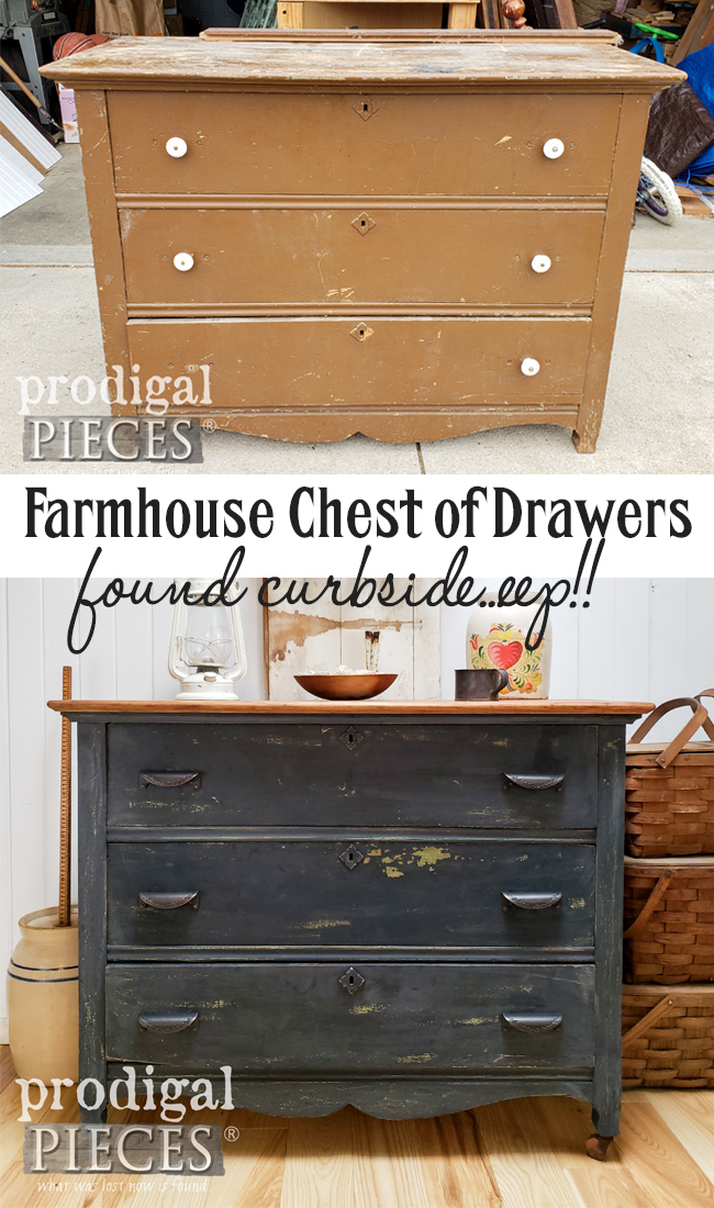 From curbside left for trash to farmhouse beauty, this farmhouse chest of drawers was restored by Larissa of Prodigal Pieces | DIY details at prodigalpieces.com #prodigalpieces #diy #furniture #farmhouse #home #homedecor