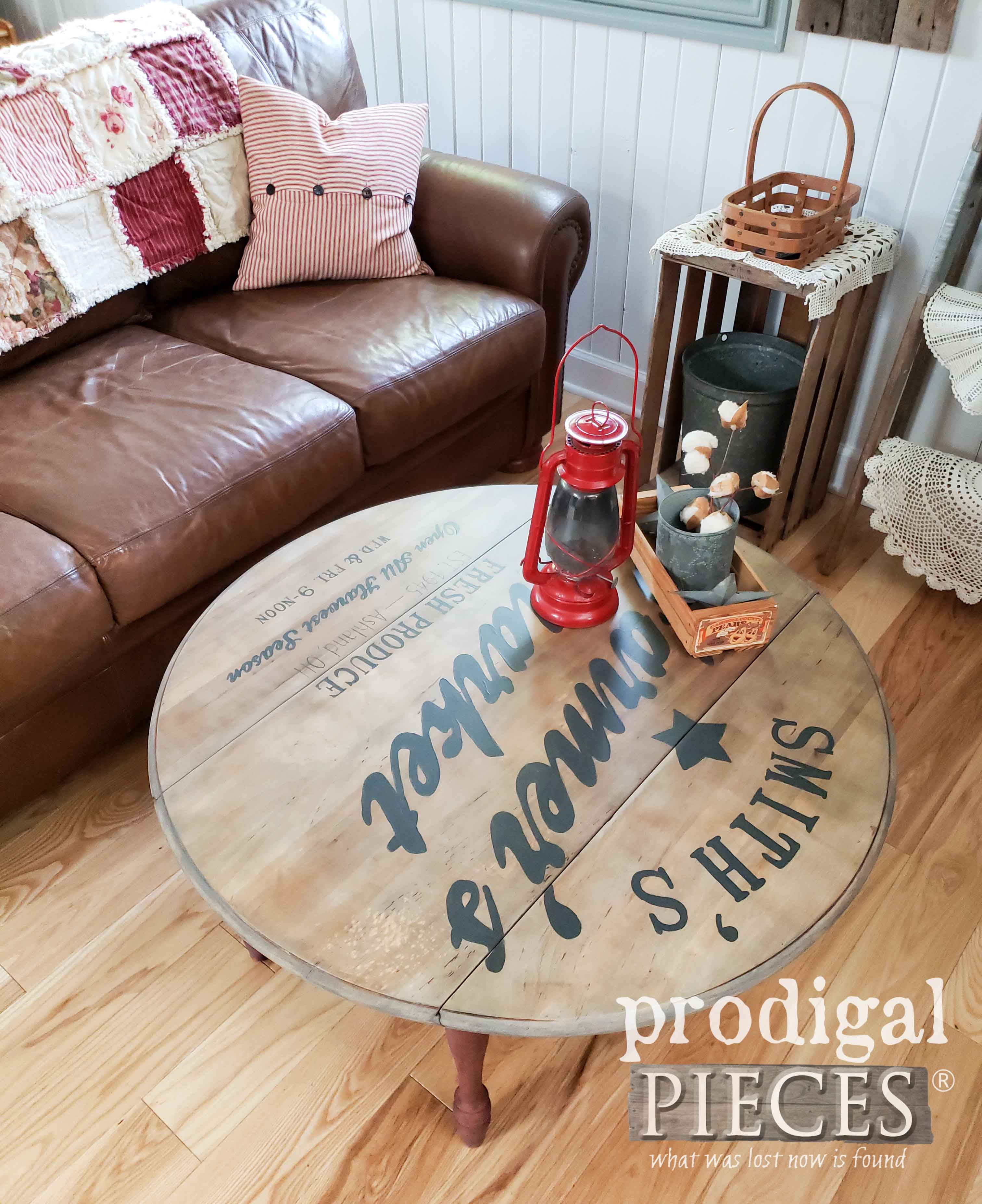 Farmhouse Coffee Table with Typography by Larissa of Prodigal Pieces | prodigalpiceces.com #prodigalpieces #diy #furniture #farmhouse #handmade #home #homedecor