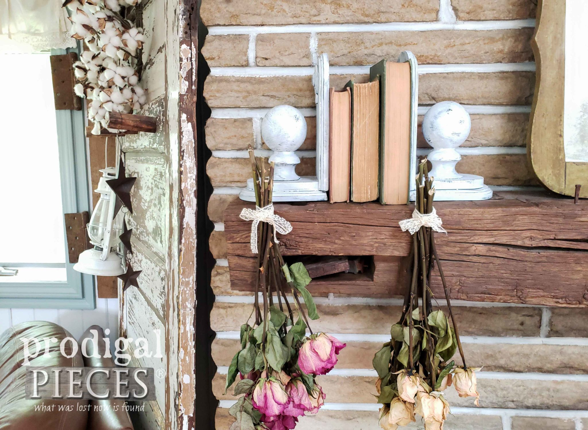 Farmhouse Style Architectural Salvage Bookends Created by Larissa of Prodigal Pieces | prodigalpieces.com #prodigalpieces #diy #home #homedecor #handmade #farmhouse
