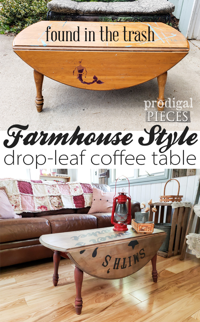 This farmhouse style drop-leaf coffee table was left for the trash, but Larissa of Prodigal Pieces saw fit to make renewal happen. See the full DIY tutorial at Prodigal Pieces | prodigalpieces.com #prodigalpieces #diy #furniture #home #homedecor #farmhouse