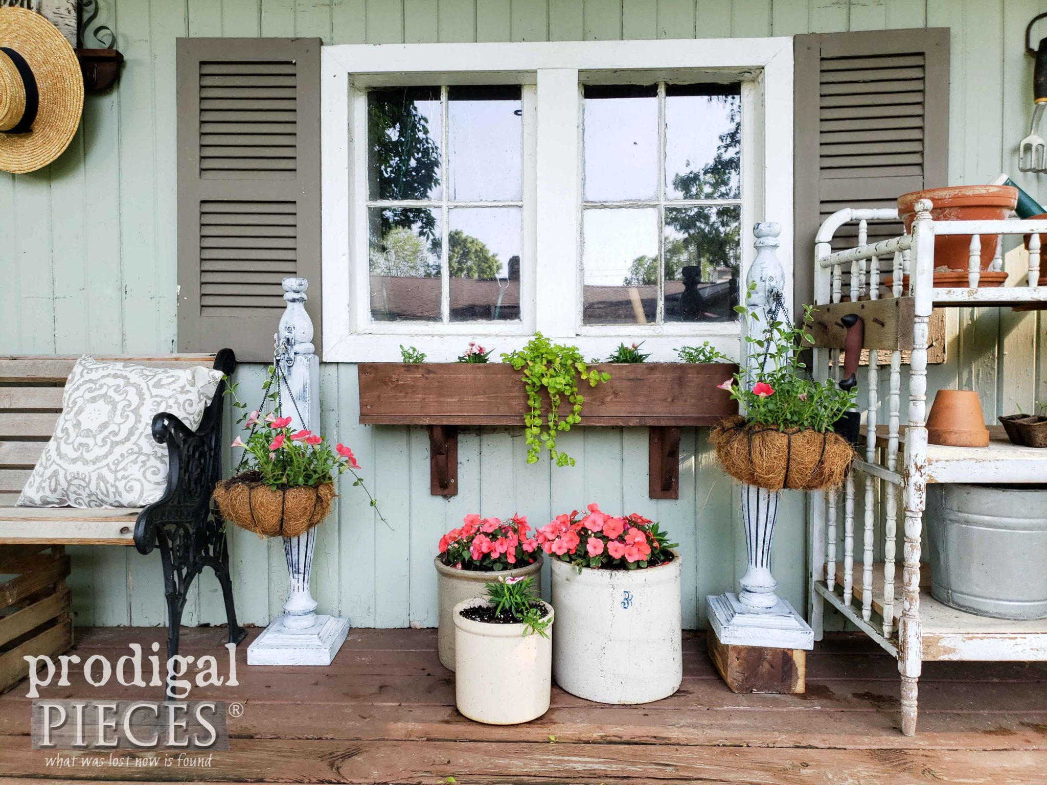 Farmhouse Style Garden Shed with Upcycled Decor by Larissa of Prodigal Pieces | prodigalpieces.com #prodigalpieces #garden #diy #home #homedecor #farmhouse