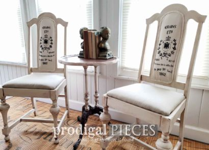 Featured DIY Grain Sack Antique Chairs Restored from the Curb by Larissa of Prodigal Pieces | prodigalpieces.com #prodigalpieces #diy #home #furniture #farmhouse #homedecor #homedecorideas