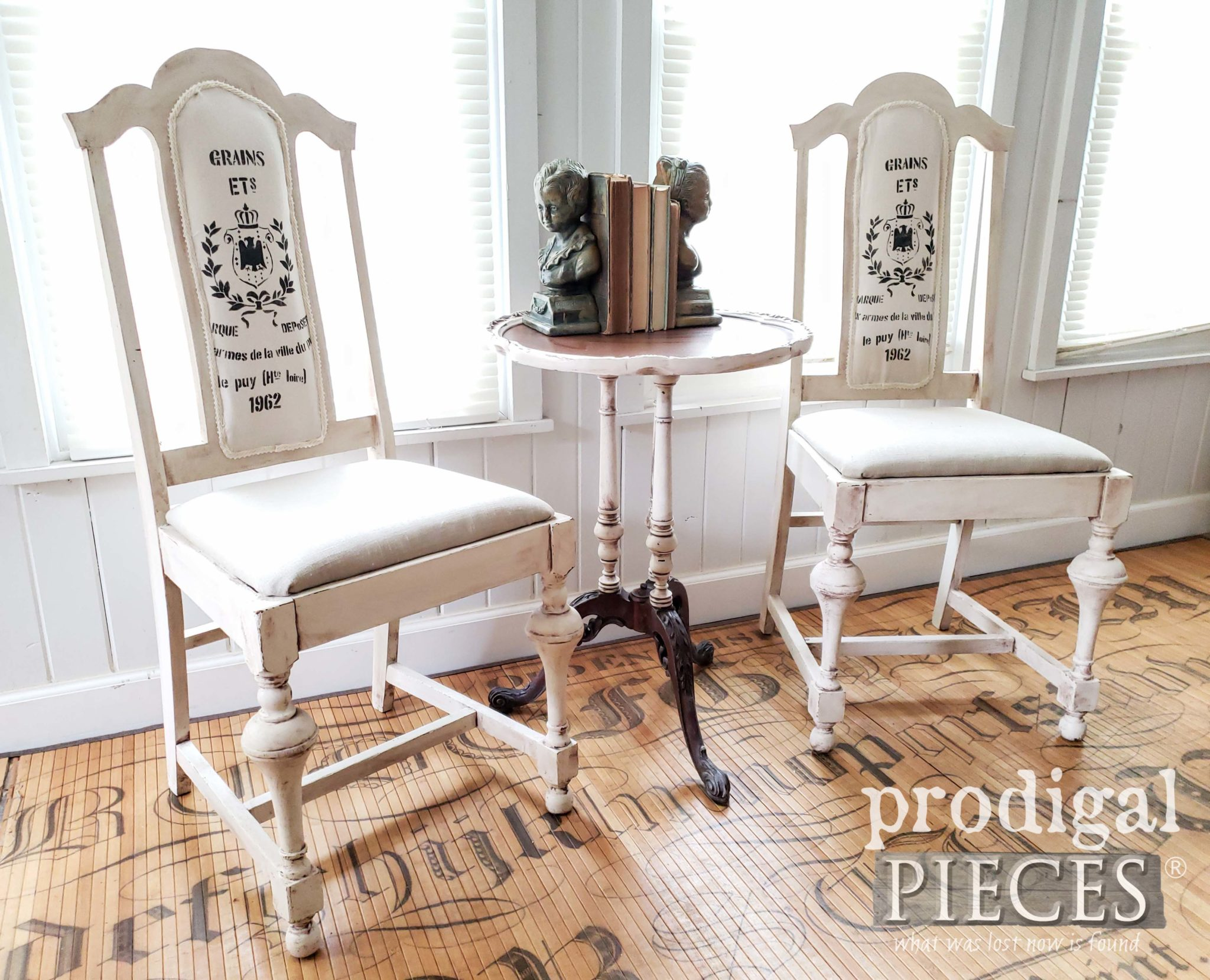 French Chic Dining Chairs with Linen and Grain Sack Details by Larissa of Prodigal Pieces | prodigalpieces.com #prodigalpieces #diy #home #furniture #homedecor #vintage