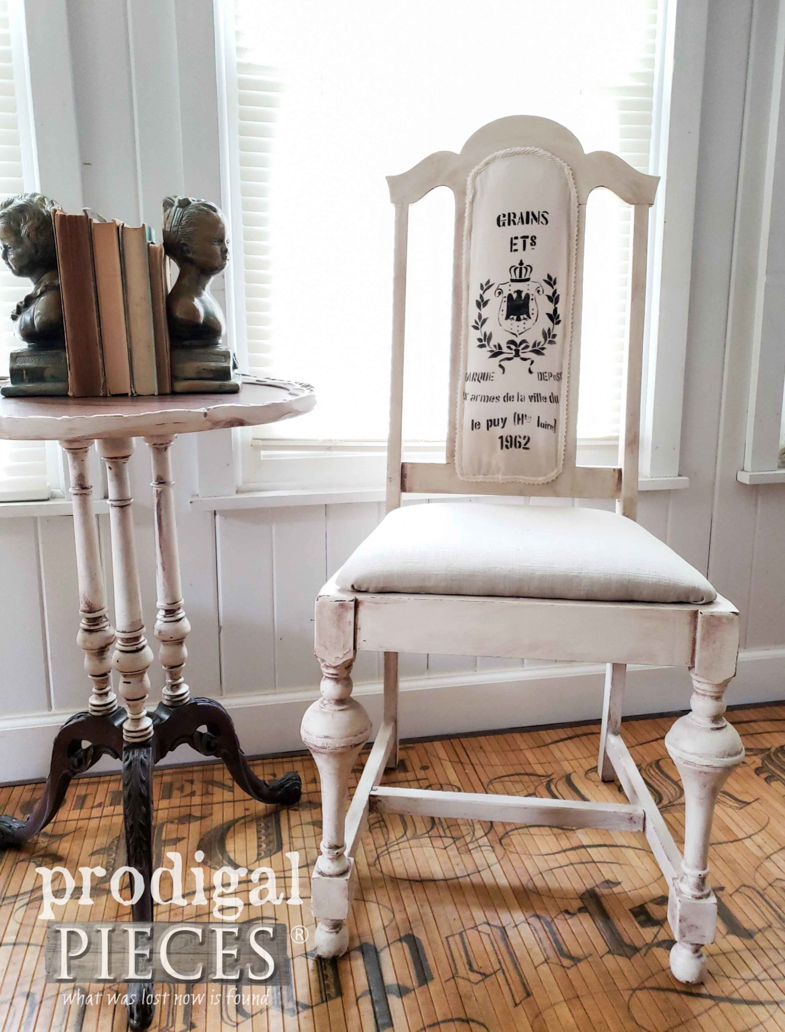 French Farmhouse Dining Chair with Grain Sack Details by Larissa of Prodigal Pieces | prodigalpieces.com #prodigalpieces #diy #home #furniture #farmhouse #homedecor
