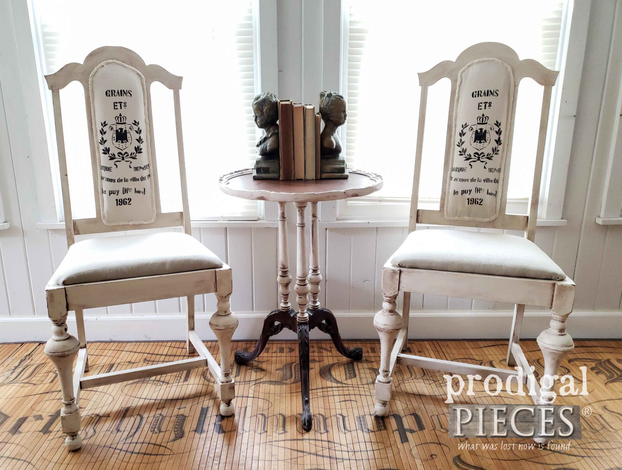 Broken Cane Chairs Made into Grain Sack Dining Chairs by Larissa of Prodigal Pieces | prodigalpieces.com #prodigalpieces #furniture #home #farmhouse #homedecor #diy