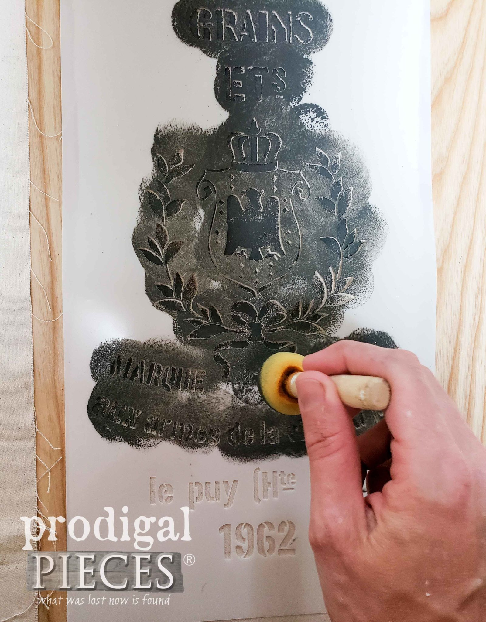 Using Grain Sack Stencil for Antique Chairs | Prodigal Pieces | prodigalpieces.com #prodigalpieces #diy #furniture