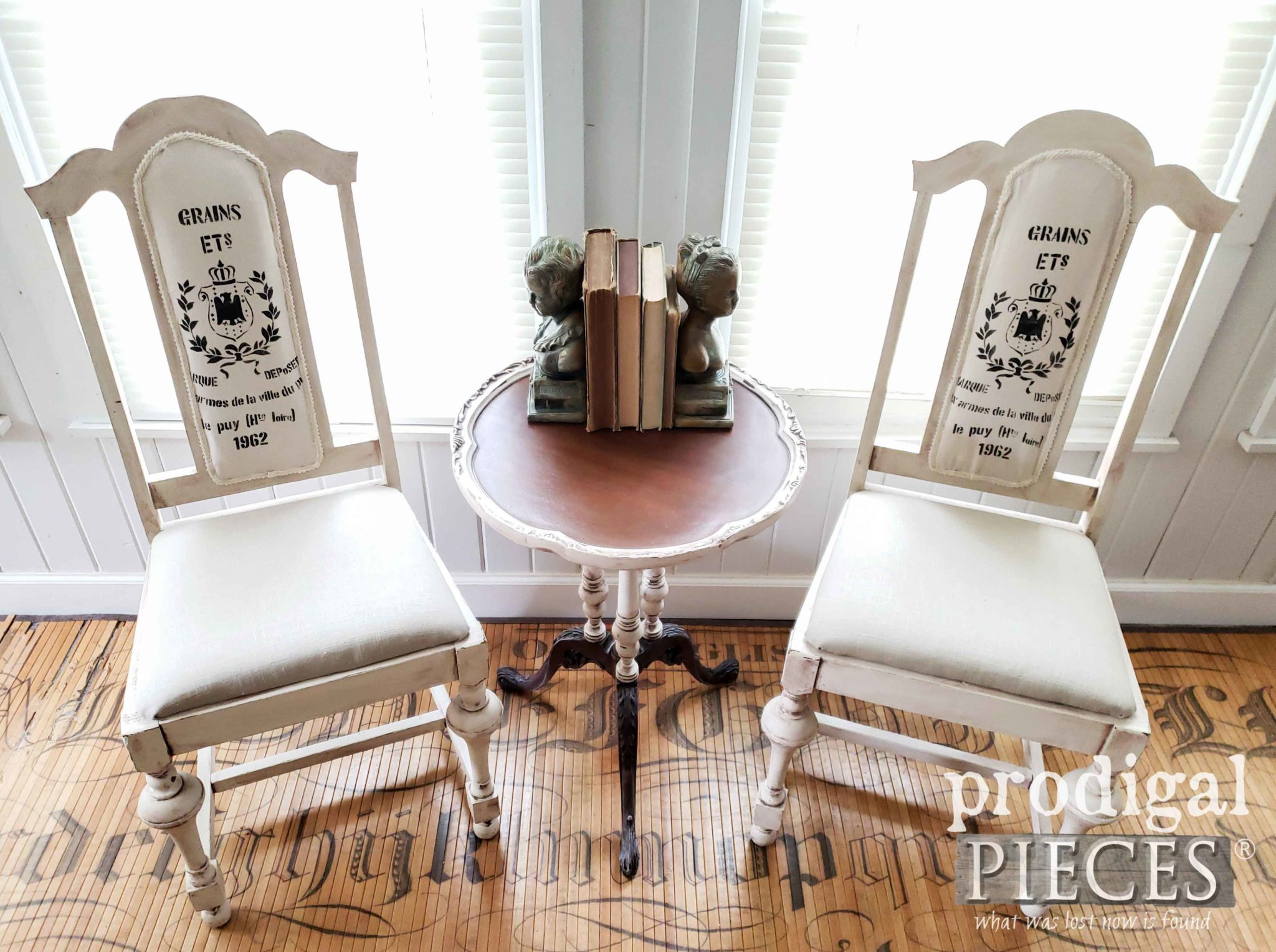 Pair of Antique Dining Chairs Upholstered in Linen and Grain Sack by Larissa of Prodigal Pieces | prodigalpieces.com #prodigalpieces #diy #furniture #home #homedecor