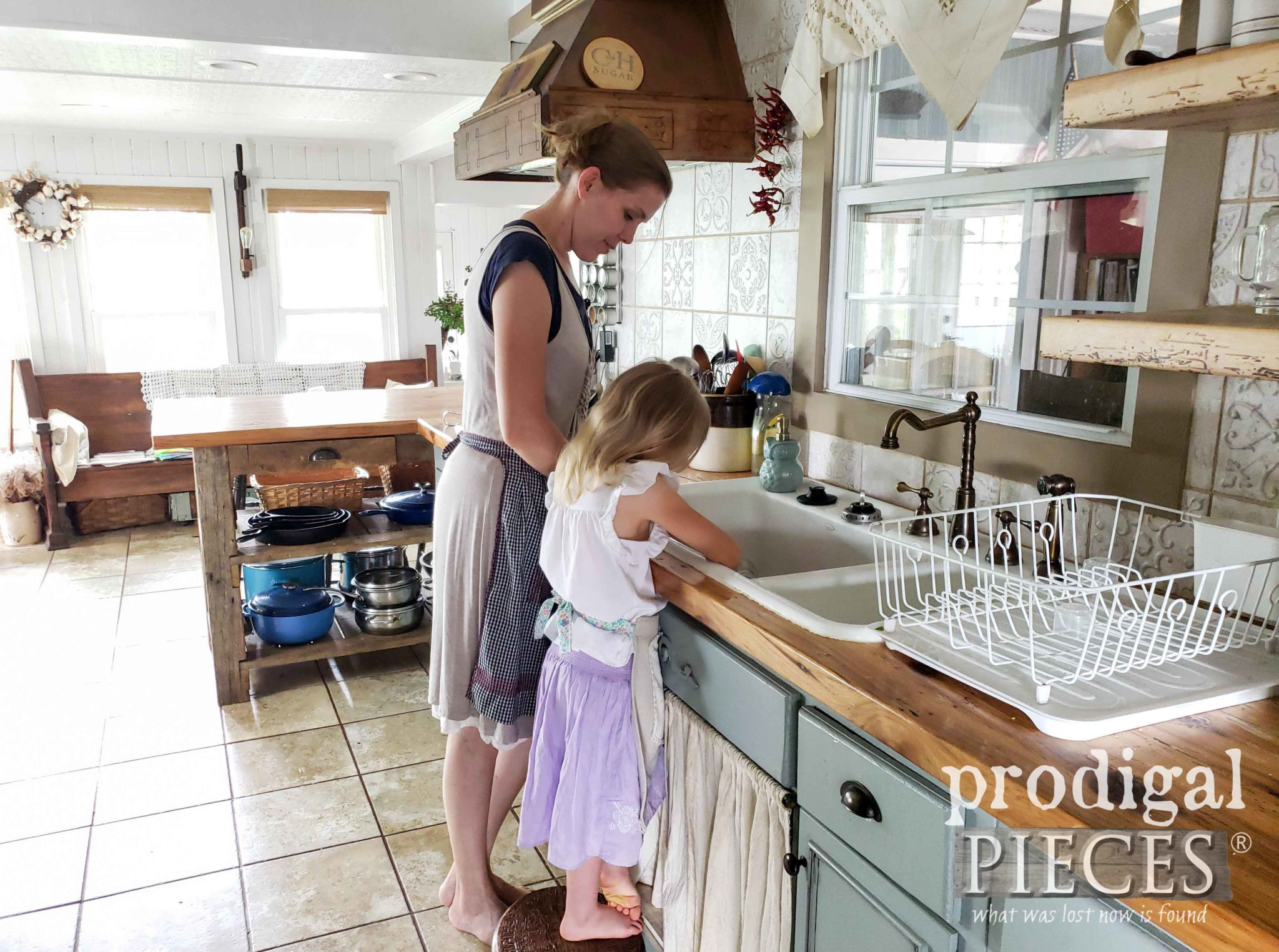 Larissa of Prodigal Pieces with daughter in Farmhouse Style Kitchen | prodigalpieces.com #prodigalpieces #kitchen #farmhouse #home #homedecor #diy