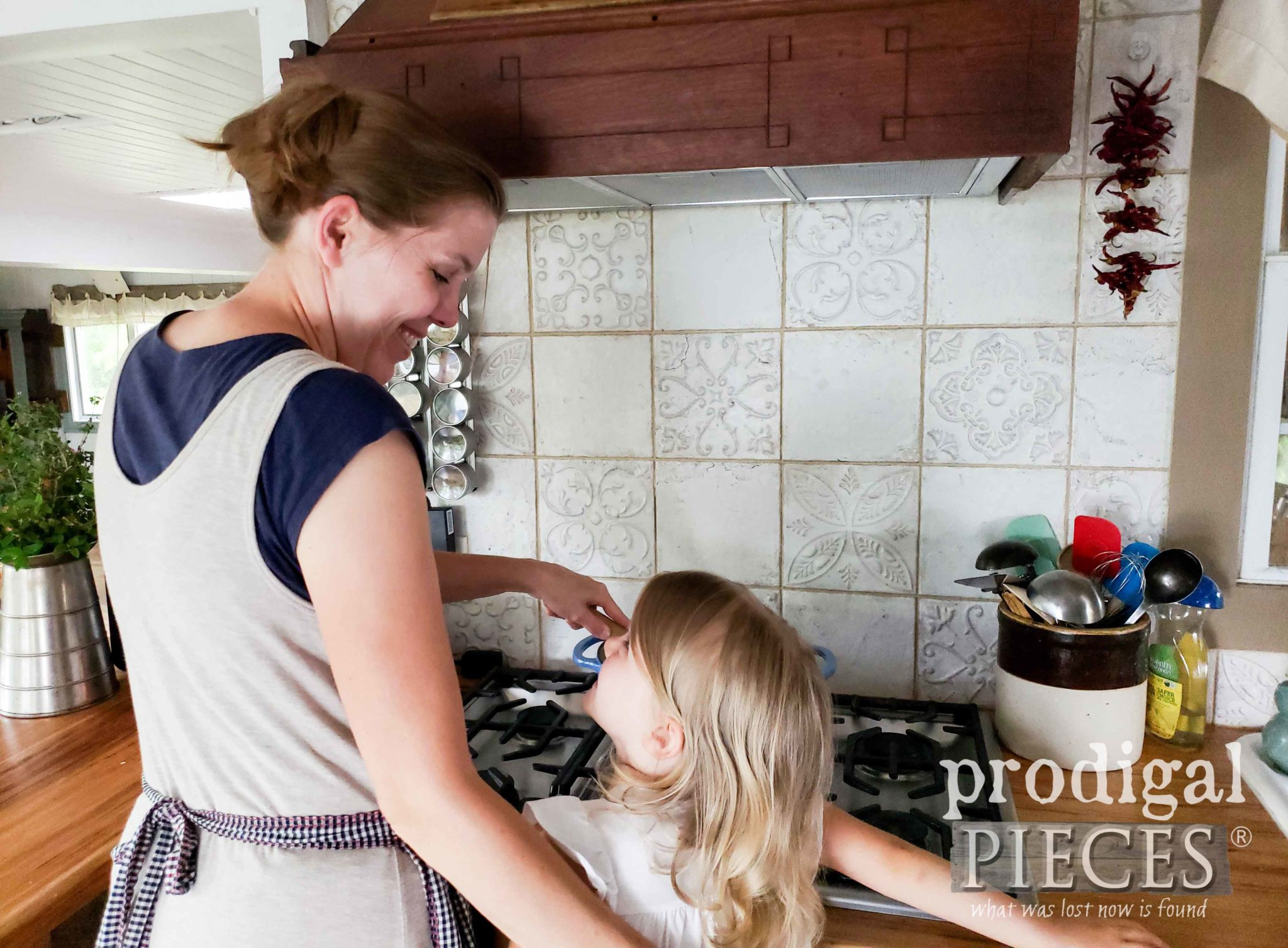 Mother & Daughter Cooking in Farmhouse Style Kitchen | by Larissa of Prodigal Pieces | prodigalpieces.com #prodigalpieces #diy #home #homedecor #handmade #kitchen #farmhouse