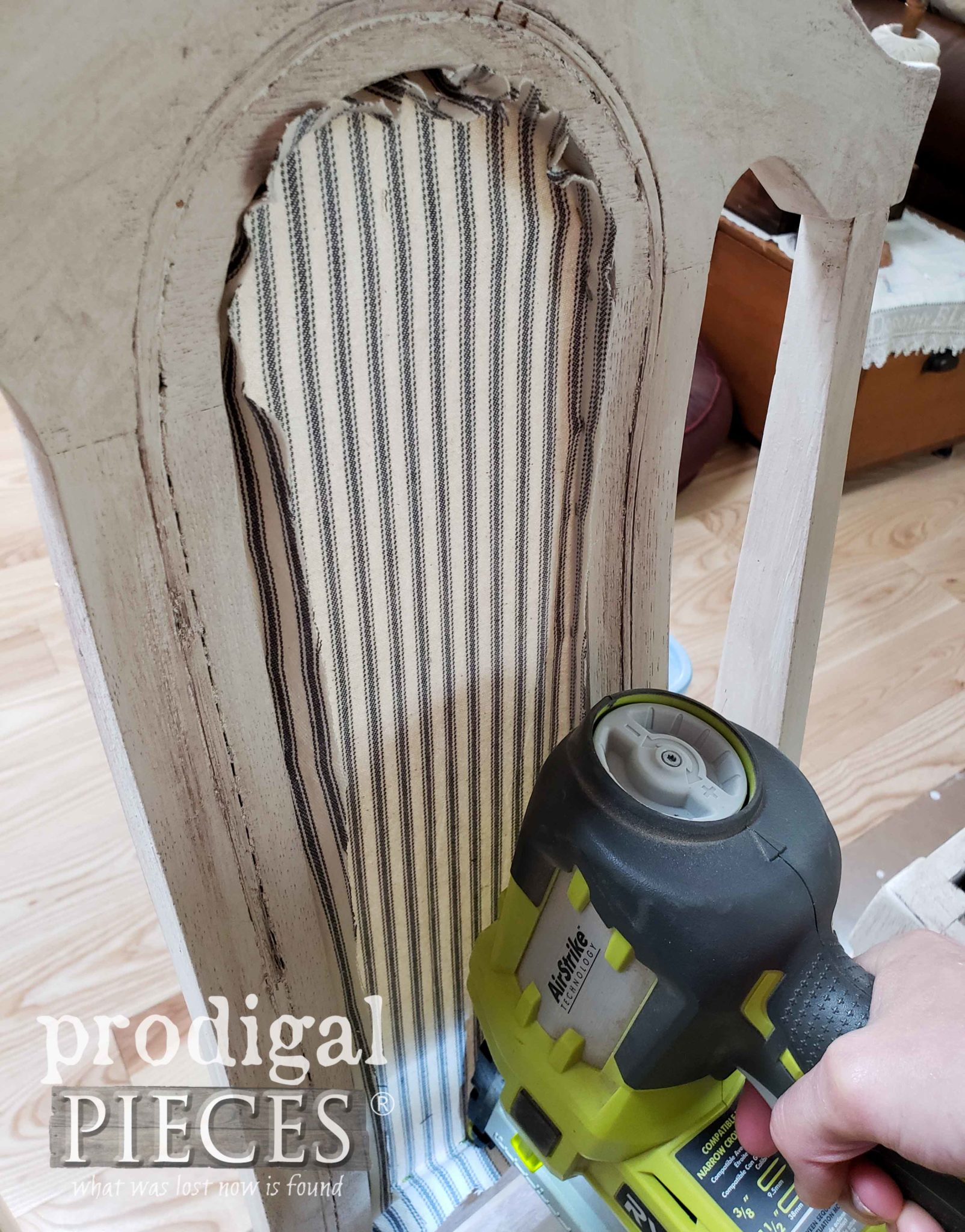 Adding Ticking Stripe Upholstery to Grain Sack Antique Chairs with Ryobi Stapler by Larissa of Prodigal Pieces | prodigalpieces.com #prodigalpieces #diy #home #homedecor #furniture #tools