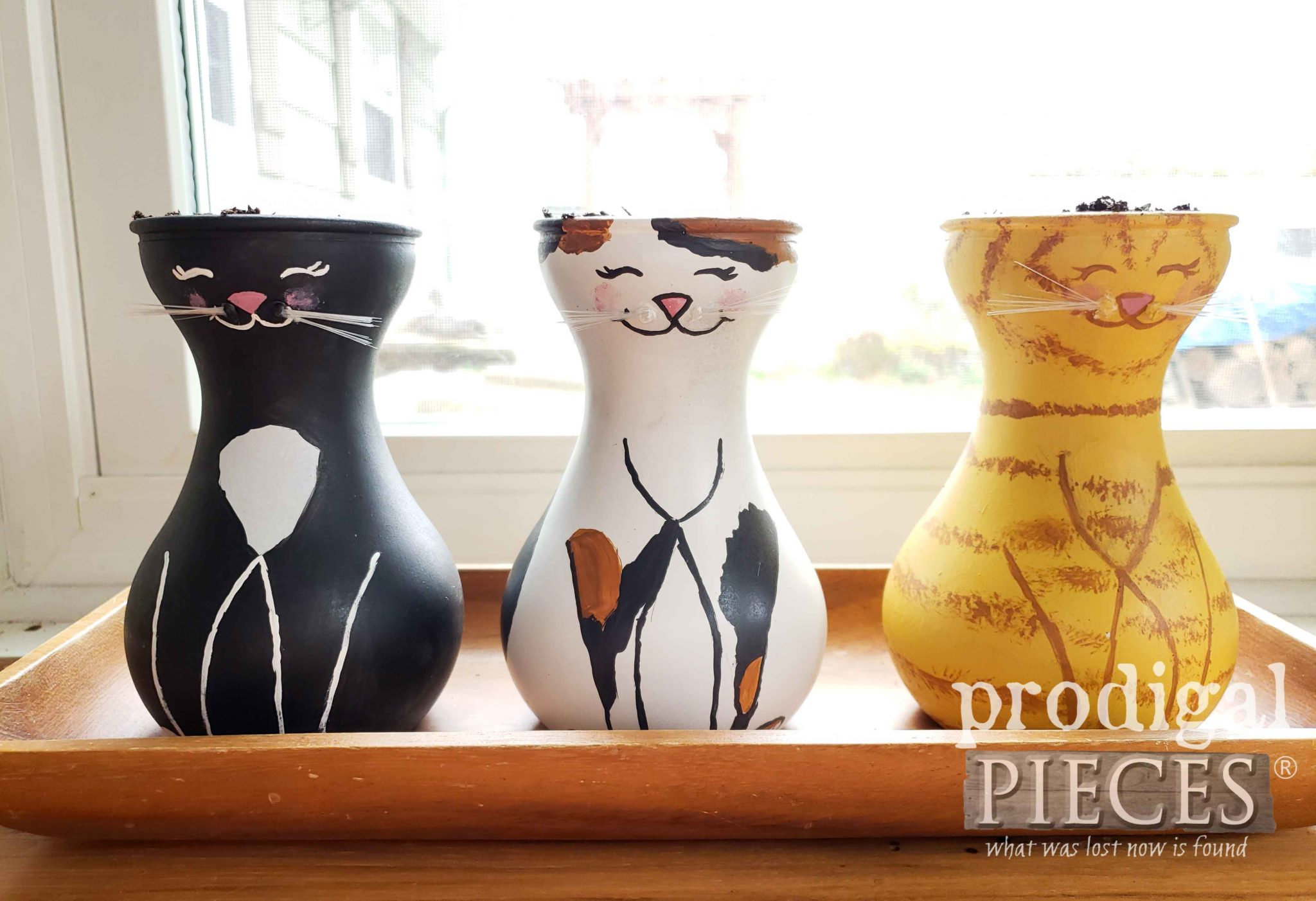 Painted Cat Grass Jars by Larissa of Prodigal Pieces | prodigalpieces.com #prodigalpieces #pets #cats #dogs #health #home #homedecor