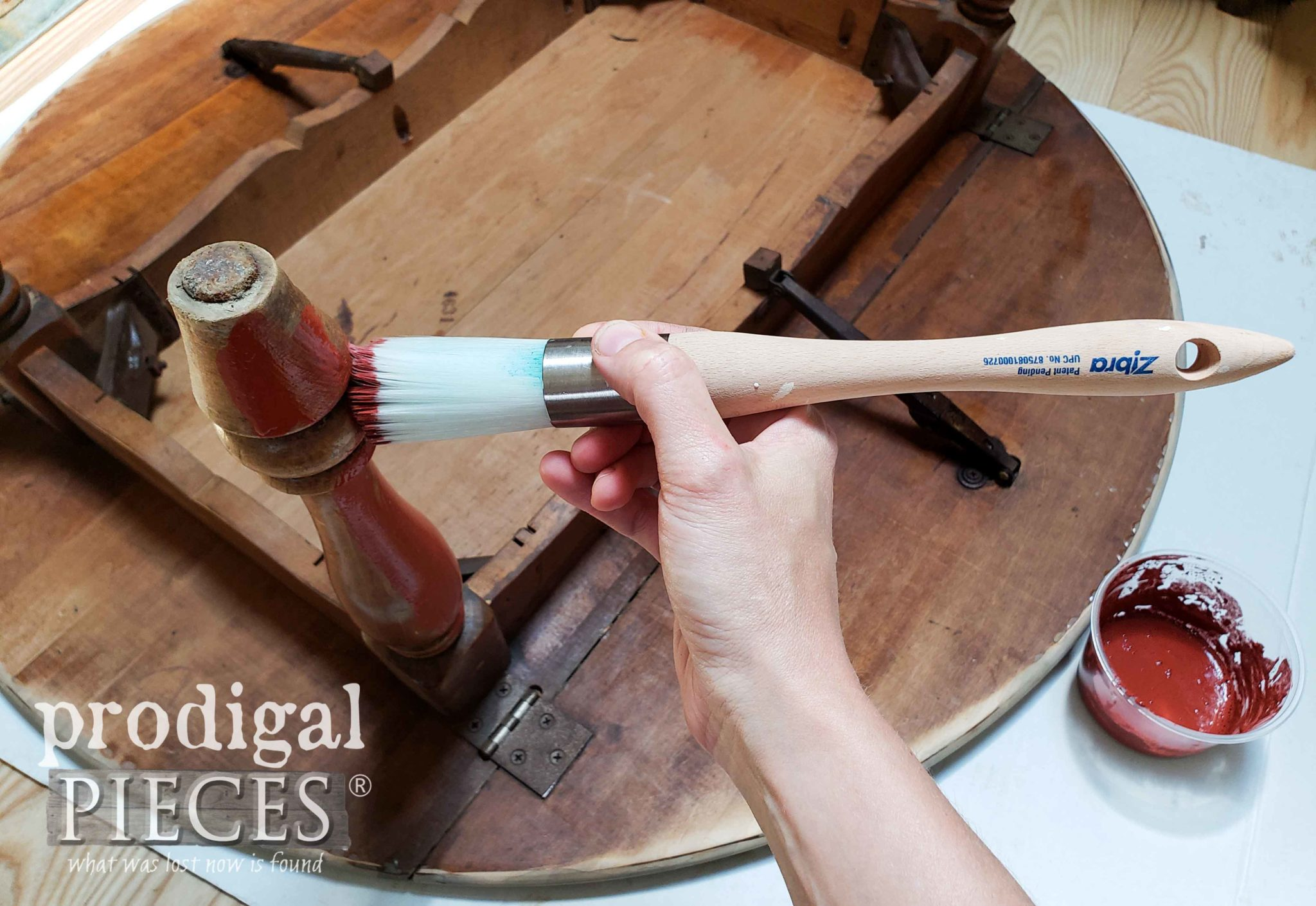 Using Zibra Round Brush for Red Milk Paint on Vintage Drop-Leaf Table Makeover by Larissa of Prodigal Pieces | prodigalpieces.com